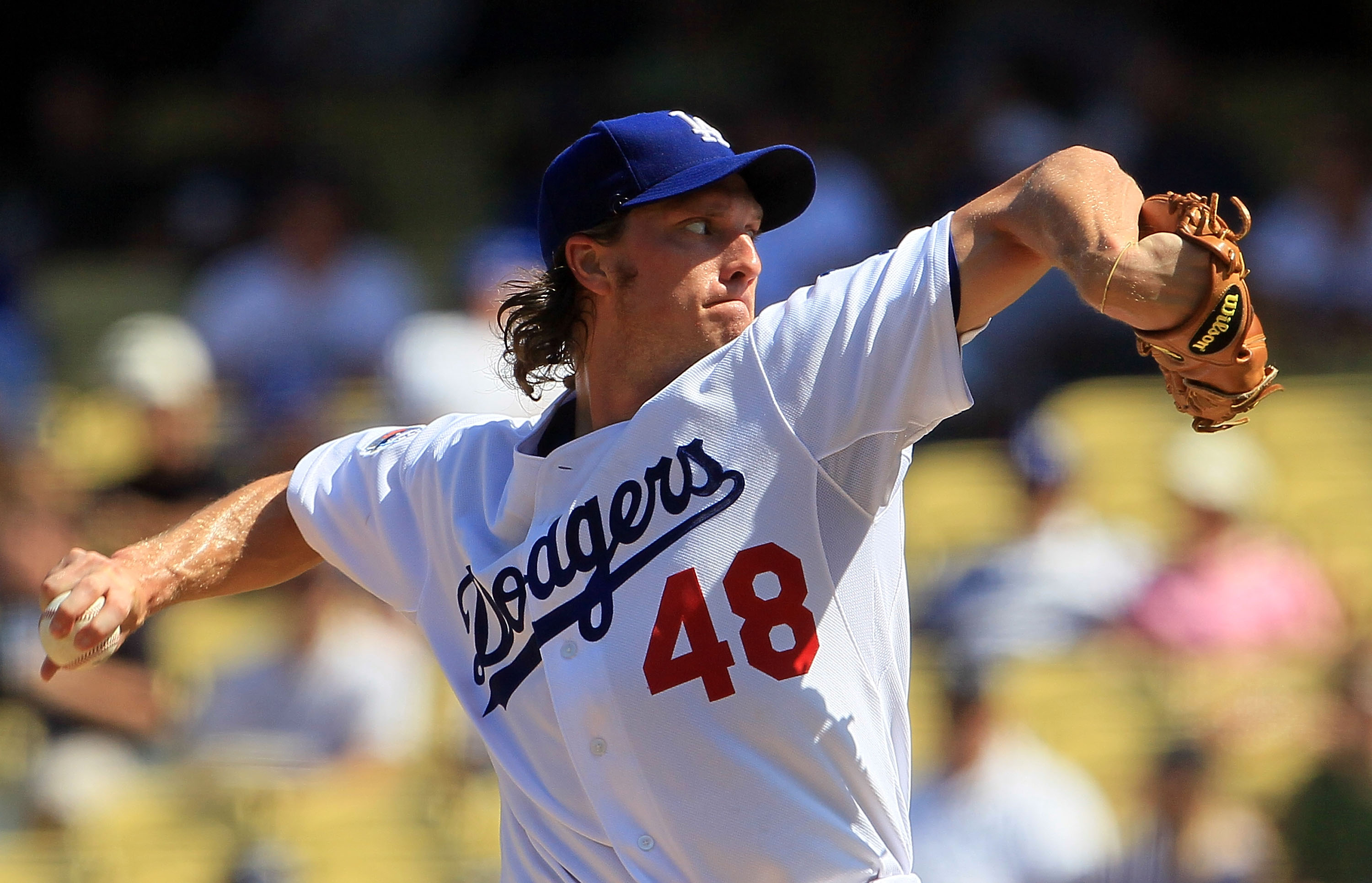 LOS ANGELES, CA - SEPTEMBER 18:  John Ely #48 of the Los Angeles Dodgers pitches against the Colorado Rockies in the game at Dodger Stadium on September 18, 2010 in Los Angeles, California.  (Photo by Jeff Gross/Getty Images)