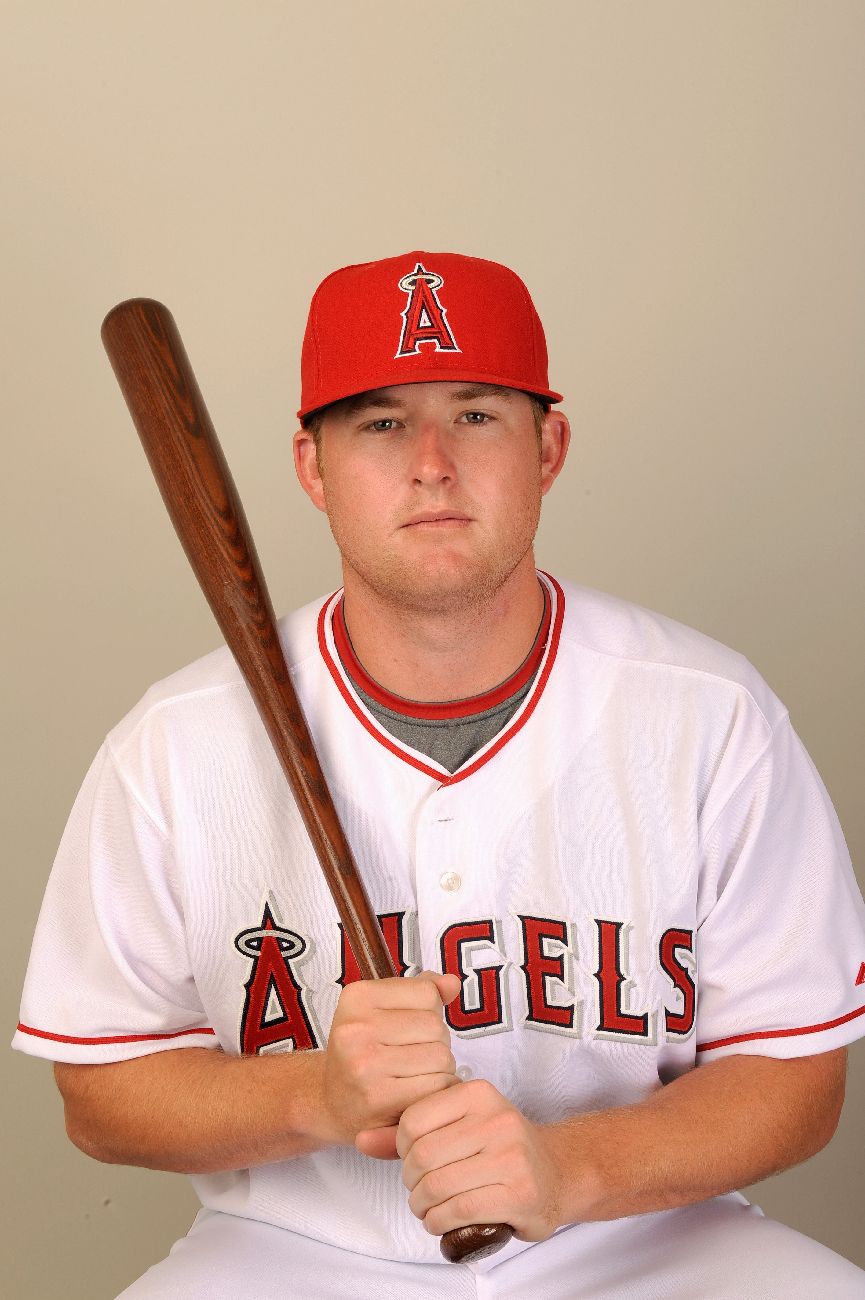 TEMPE, AZ - FEBRUARY 25:  Mark Trumbo #35 of the Los Angeles Angels of Anaheim poses during photo day at Tempe Diablo Stadium on February 25, 2009 in Tempe, Arizona. (Photo by Kevork Djansezian/Getty Images)