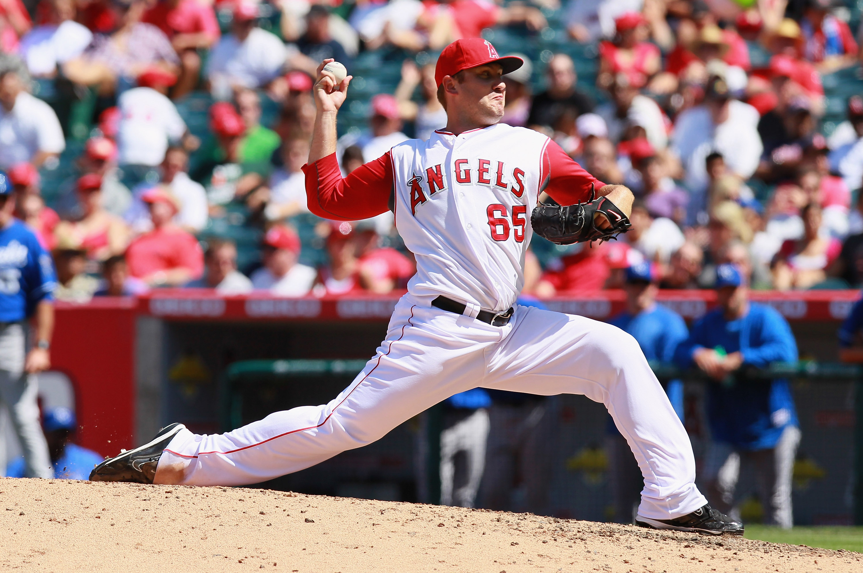ANAHEIM, CA - AUGUST 11:  Kevin Jepsen #65 of the Los Angeles Angels of Anaheim pitches against the Kansas City Royals at Angel Stadium on August 11, 2010 in Anaheim, California.  (Photo by Jeff Gross/Getty Images)