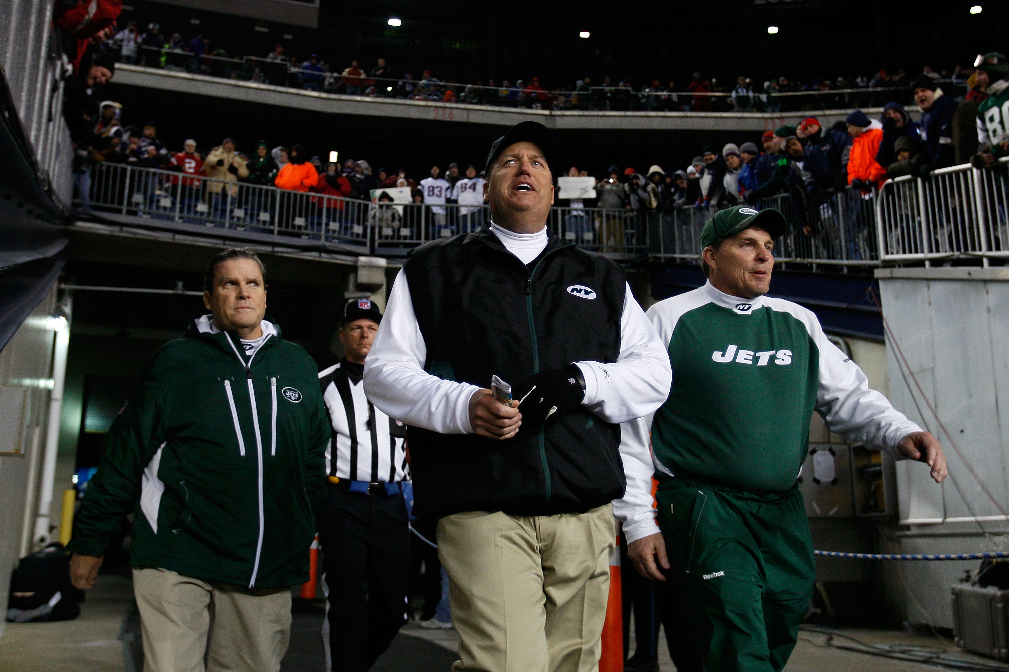 FOXBORO, MA - DECEMBER 06:  Head coach Rex Ryan of the New York Jets walks on the field for the start of their game against the New England Patriots at Gillette Stadium on December 6, 2010 in Foxboro, Massachusetts.  (Photo by Jim Rogash/Getty Images)