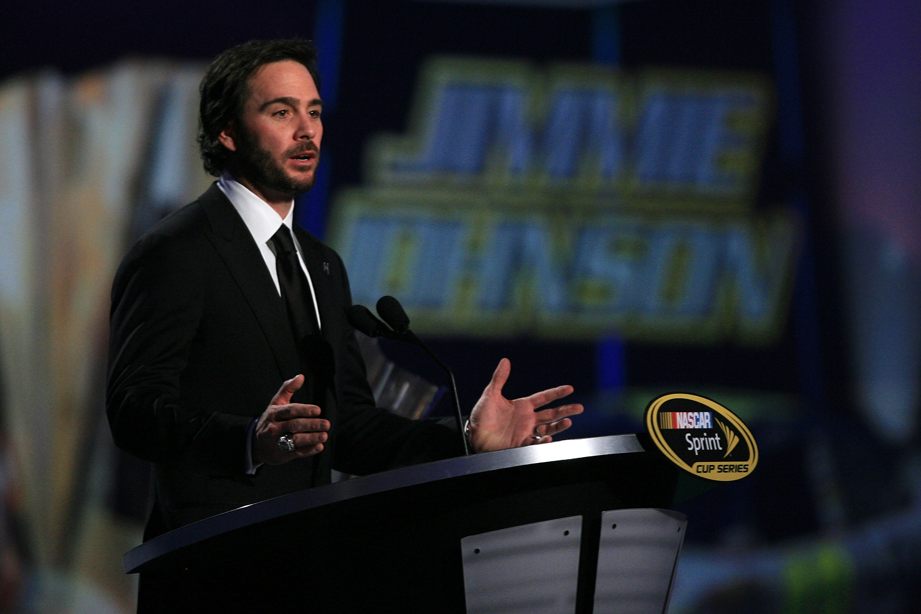 LAS VEGAS, NV - DECEMBER 03:  Five-time champion Jimmie Johnson speaks during the NASCAR Sprint Cup Series awards banquet at the Wynn Las Vegas Hotel on December 3, 2010 in Las Vegas, Nevada.  (Photo by Chris Trotman/Getty Images)