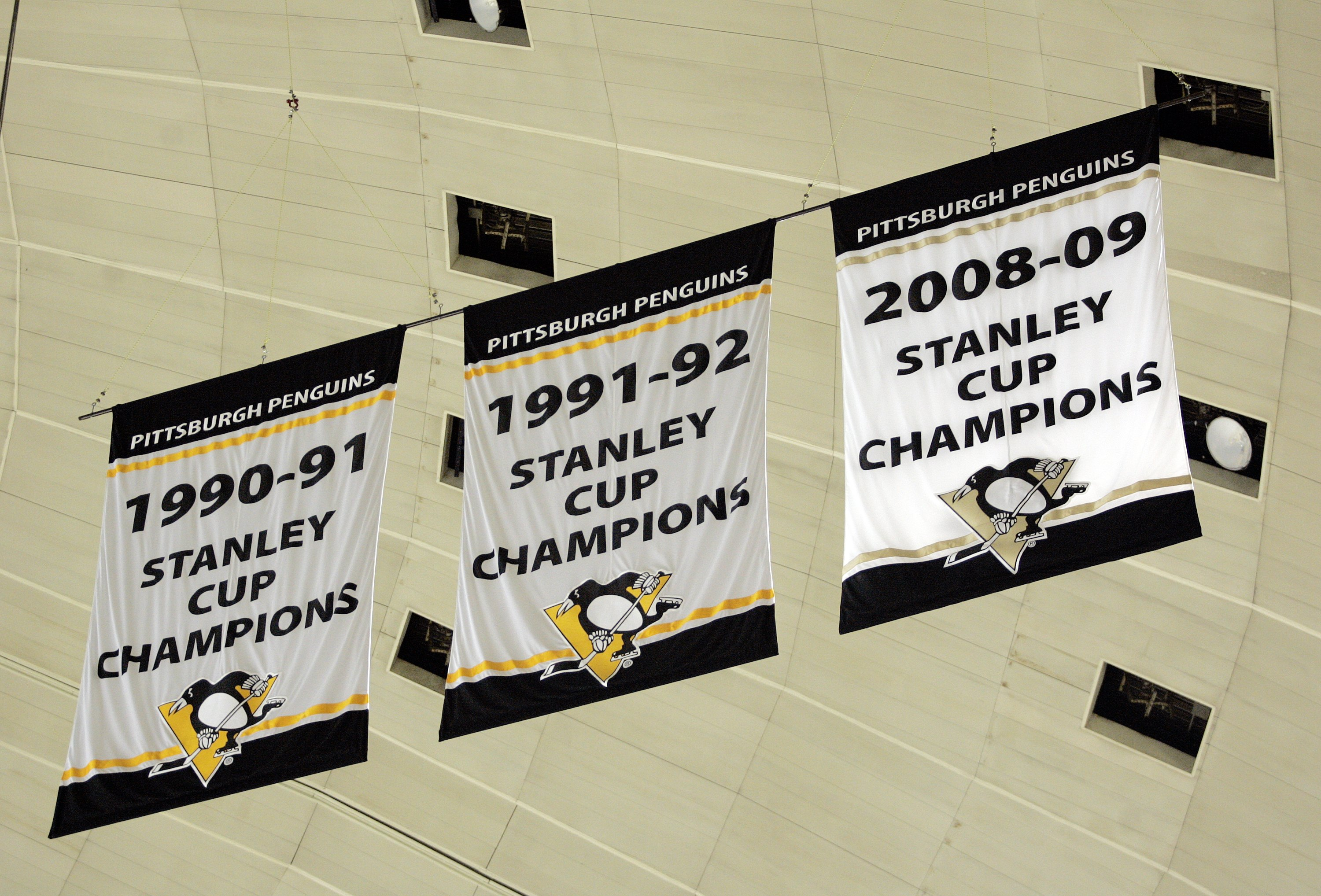 PITTSBURGH, PA - OCTOBER 07:  General View of the Stanley Cup Championship banners that hang at Mellon Arena on October 07, 2009 in Pittsburgh, Pennsylvania.  (Photo by Justin K. Aller/Getty Images)