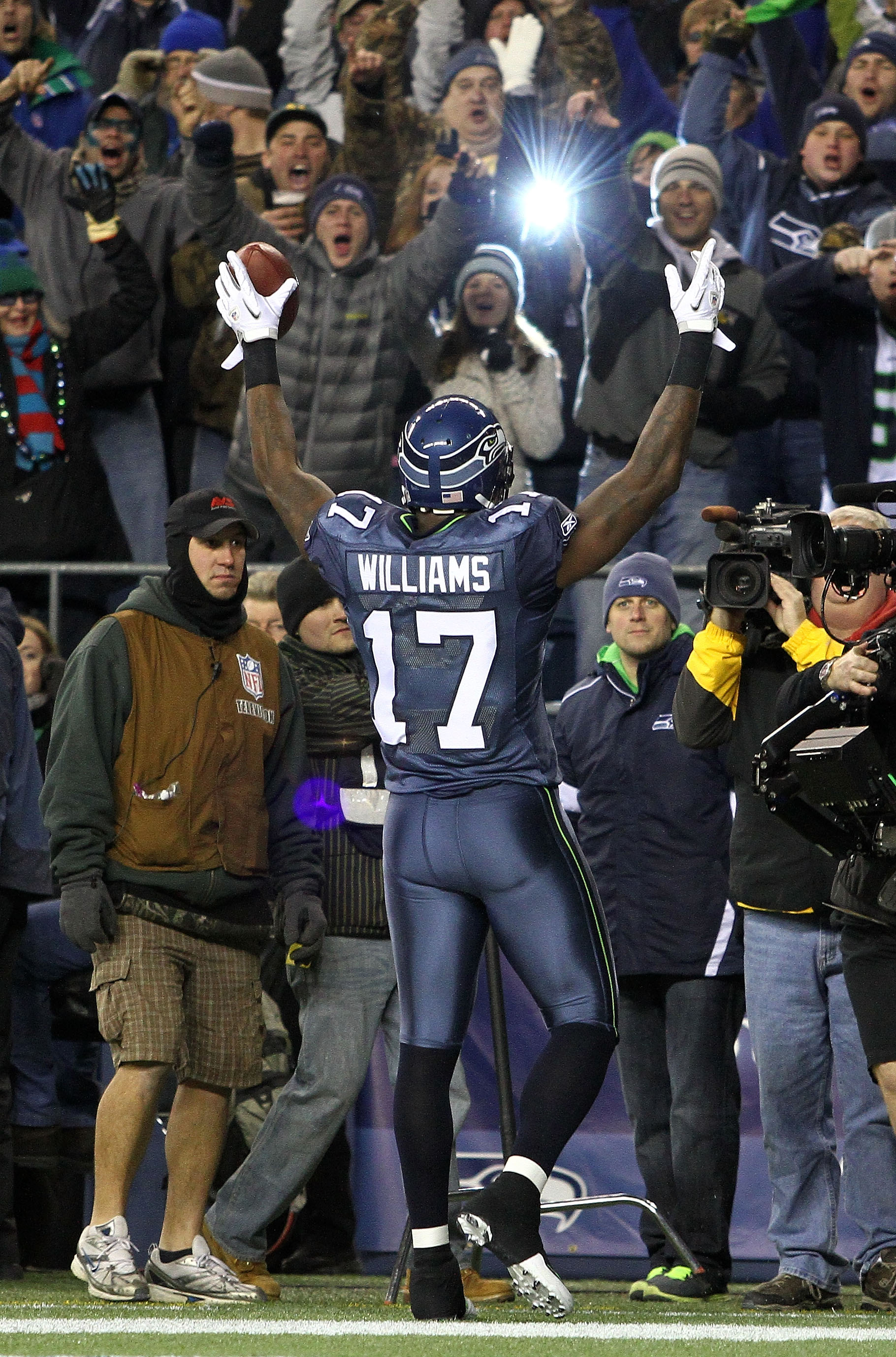 SEATTLE, WA - JANUARY 02:  Wide receiver Mike Williams #17 of the Seattle Seahawks celebrates scoring a touchdown in the first quarter against the St. Louis Rams during their game at Qwest Field on January 2, 2011 in Seattle, Washington.  (Photo by Otto G