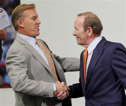 Pat Bowlen gave John Elway the Broncos reigns Wednesday. (AP Photo/ Ed Andrieski)