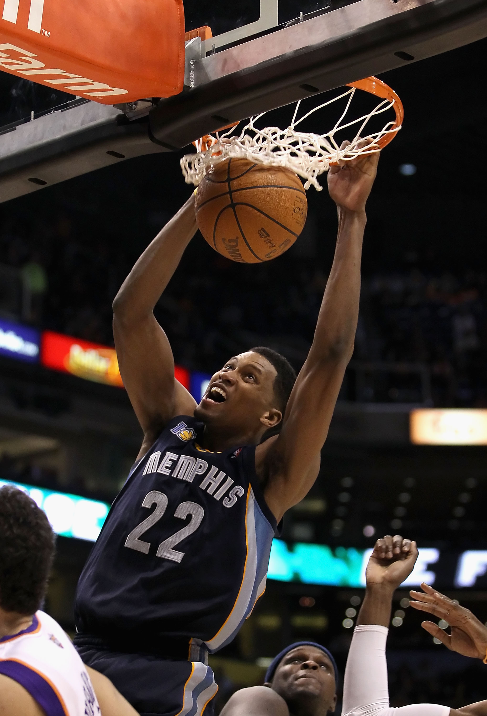 PHOENIX - DECEMBER 08:  Rudy Gay #22 of the Memphis Grizzlies slam dunks the ball against the Phoenix Suns during the NBA game at US Airways Center on December 8, 2010 in Phoenix, Arizona. The Grizzlies defeated the Suns 104-98 in overtime.  NOTE TO USER:
