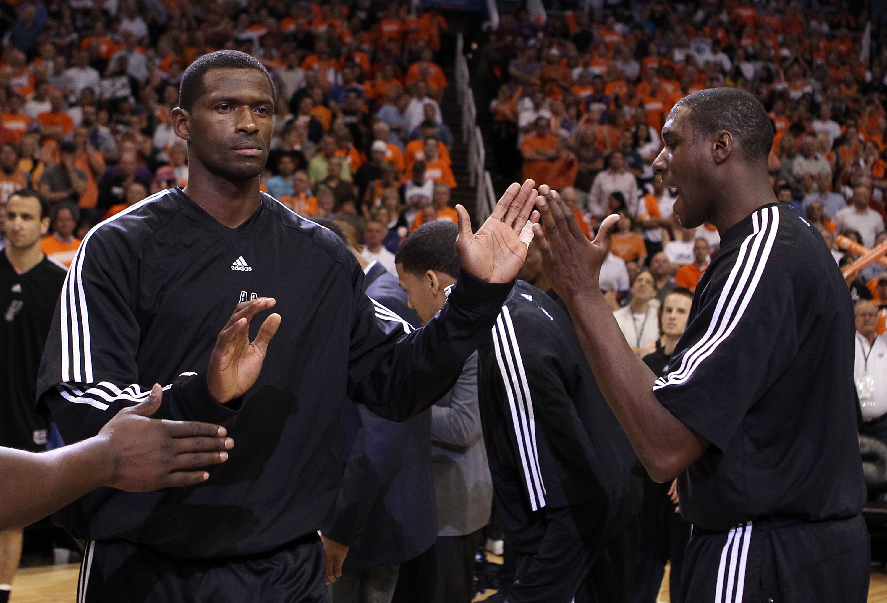 PHOENIX - MAY 03:  Antonio McDyess #34 of the San Antonio Spurs is introduced before Game One of the Western Conference Semifinals of the 2010 NBA Playoffs against the Phoenix Suns at US Airways Center on May 3, 2010 in Phoenix, Arizona. The Suns defeated