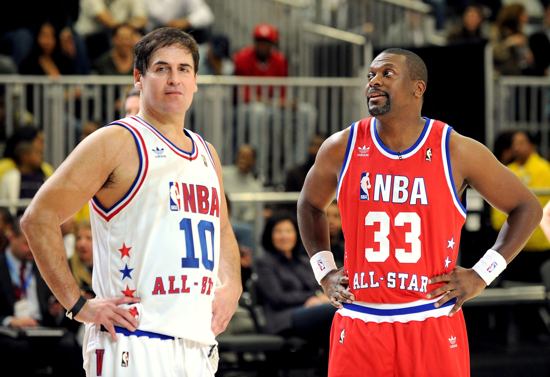 2dcb7c7c37 DALLAS - FEBRUARY 12: Dallas Mavericks owner Mark Cuban (L) and actor Chris