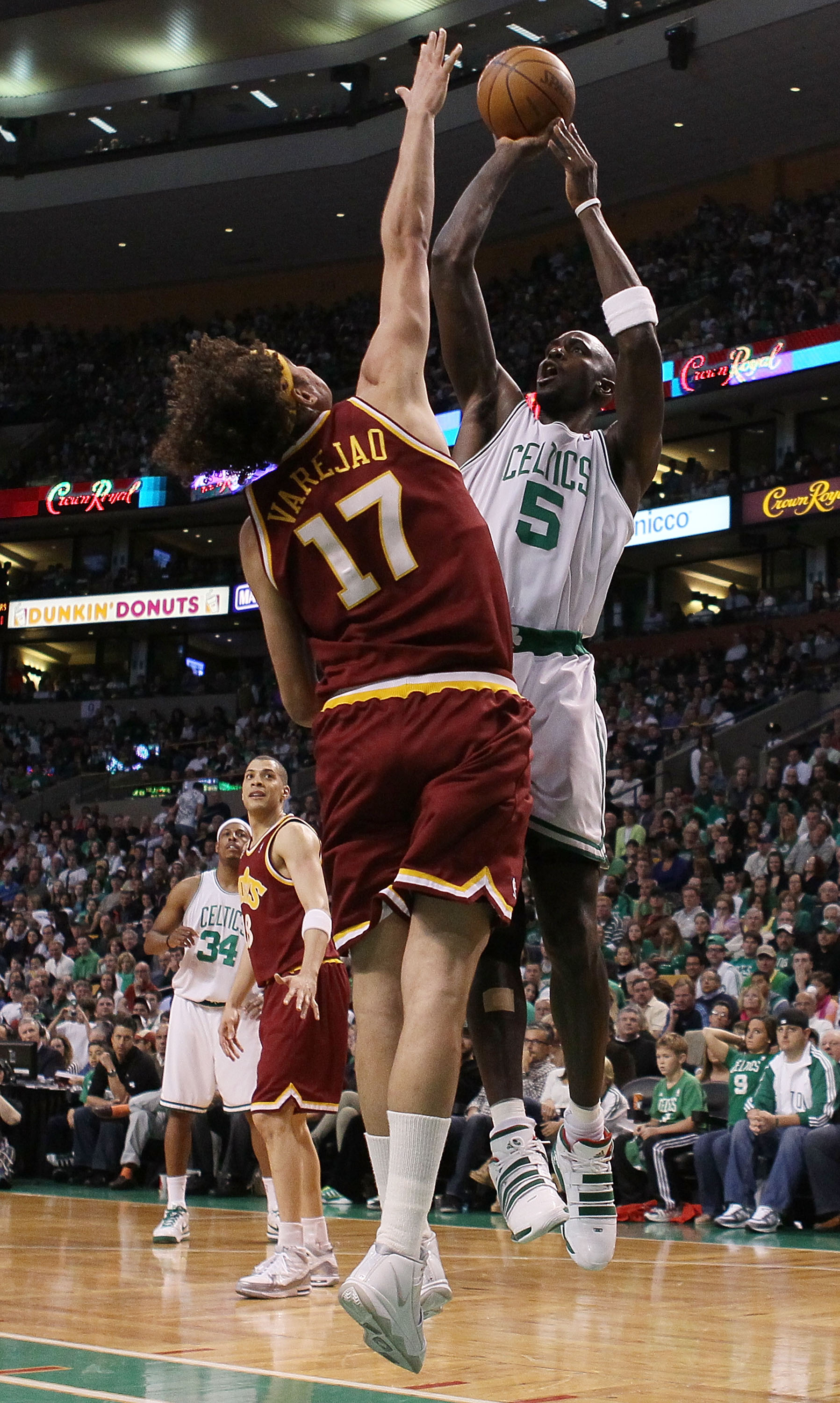 BOSTON - MAY 09:  Kevin Garnett #5 of the Boston Celtics takes a shot as Anderson Varejao #17 of the Cleveland Cavaliers defends during Game Four of the Eastern Conference Semifinals of the 2010 NBA playoffs at TD Garden on May 9, 2010 in Boston, Massachu