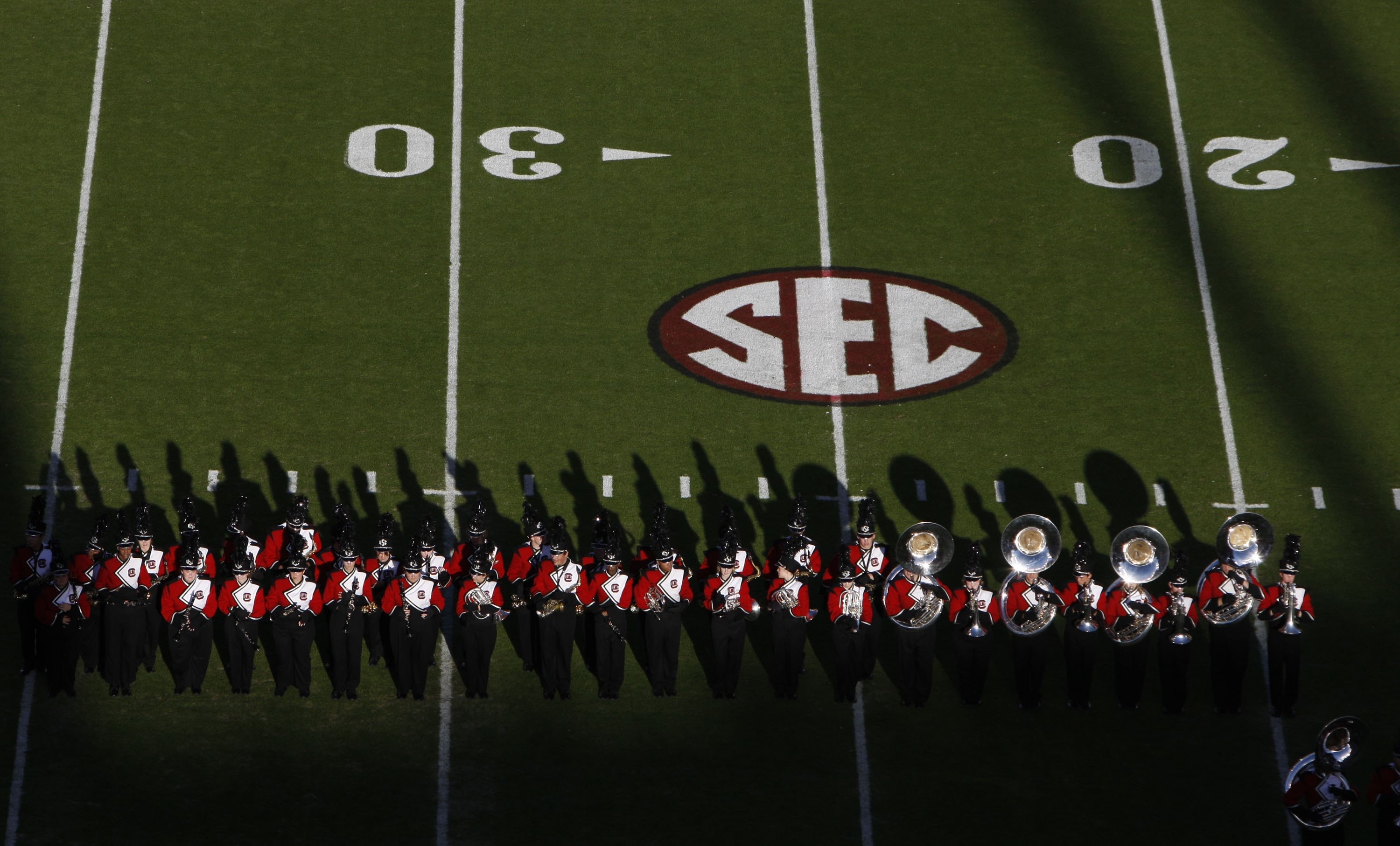 COLUMBIA, SC - NOVEMBER 14:  Overhead view of South Carolina Gamecocks marching band with SEC logo during the game against the Florida Gators at Williams-Brice Stadium on November 14, 2009 in Columbia, South Carolina. (Photo by Streeter Lecka/Getty Images