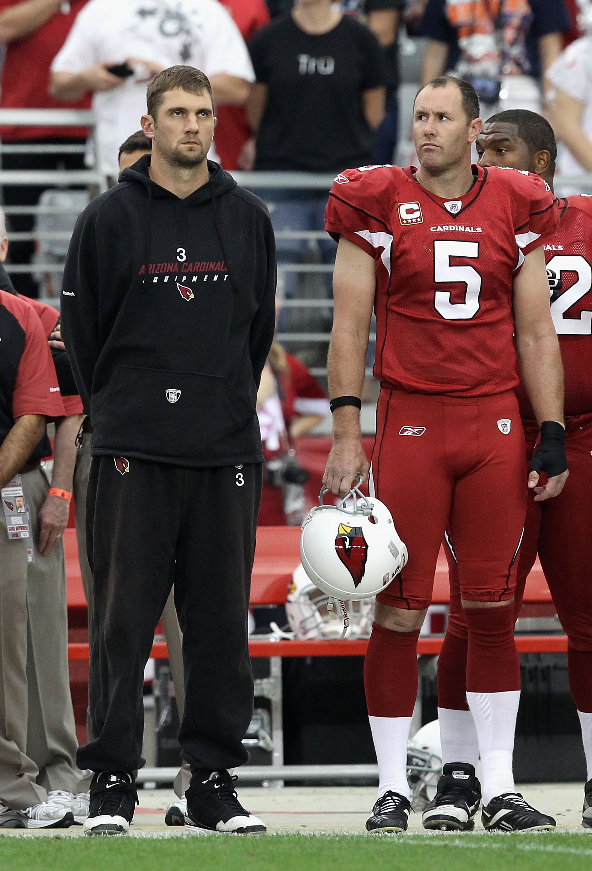 GLENDALE, AZ - DECEMBER 12:  Quarterback Derek Anderson #3 and Ben Graham #5 of the Arizona Cardinals stand attended for the National Anthem before the NFL game against the Denver Broncos at the University of Phoenix Stadium on December 12, 2010 in Glenda