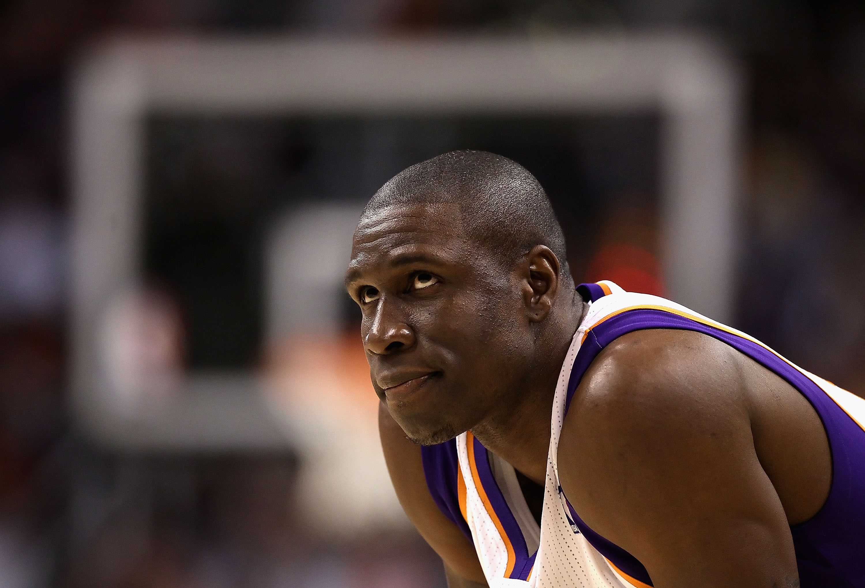PHOENIX - DECEMBER 23:  Mickael Pietrus #12 of the Phoenix Suns looks up a the clock during the NBA game against the Miami Heat at US Airways Center on December 23, 2010 in Phoenix, Arizona. The Heat defeated the Suns 95-83.  NOTE TO USER: User expressly