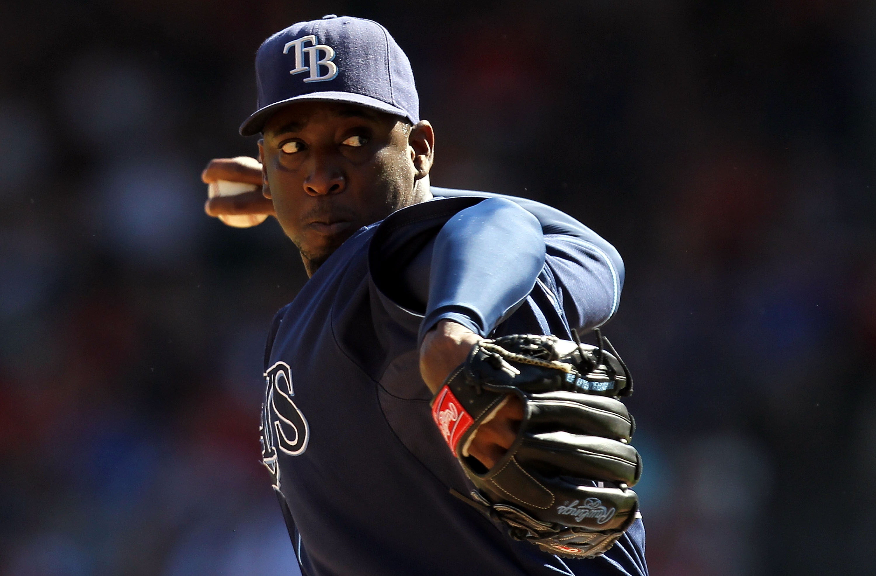 ARLINGTON, TX - OCTOBER 10:  Pitcher Rafael Soriano #29 of the Tampa Bay Rays throws against the Texas Rangers during game 4 of the ALDS at Rangers Ballpark in Arlington on October 10, 2010 in Arlington, Texas.  (Photo by Ronald Martinez/Getty Images)