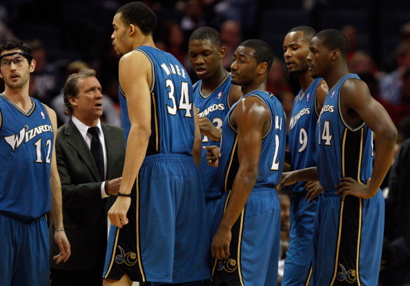 CHARLOTTE, NC - JANUARY 08:  Head coach Flip Saunders of the Washington Wizards talks to his team on the sidelines during their game agains the Charlotte Bobcats at Time Warner Cable Arena on January 8, 2011 in Charlotte, North Carolina. NOTE TO USER: Use
