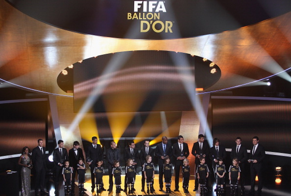 ZURICH, SWITZERLAND - JANUARY 10:  Fifa World XI award including Cristiano Ronaldo,Maicon,Lucio,Gerard Pique,Iker Casillas, front row l to r: David Villa,Lionel Messi,Wesley Sneijder,Xavi,Andres Iniesta,Puyol during the FIFA Ballon d'or Gala at the Zurich
