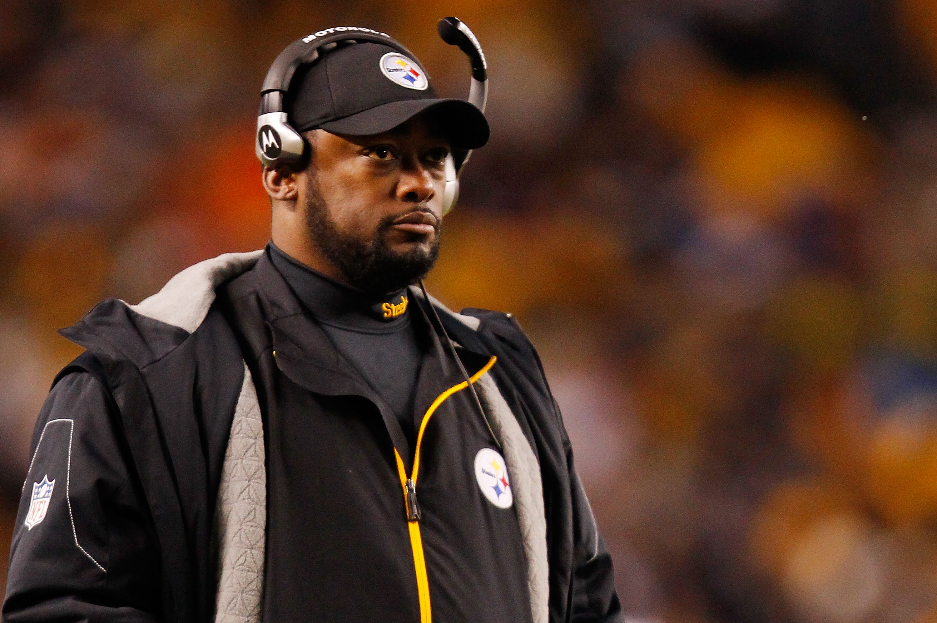 PITTSBURGH - DECEMBER 23:  Head coach Mike Tomlin of the Pittsburgh Steelers watches his team play against the Carolina Panthers during the game on December 23, 2010 at Heinz Field in Pittsburgh, Pennsylvania.  (Photo by Jared Wickerham/Getty Images)