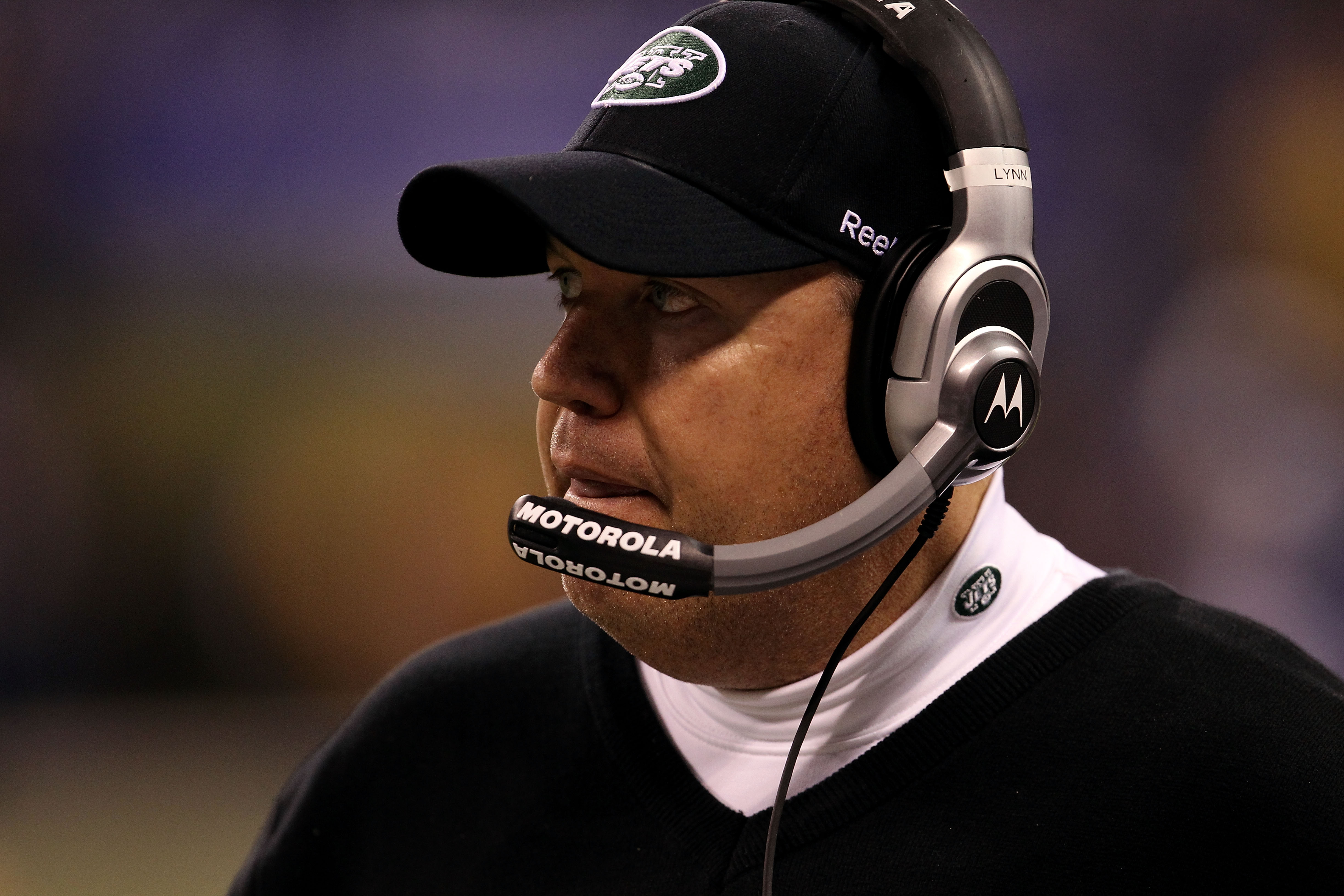 INDIANAPOLIS, IN - JANUARY 08:  Head coach Rex Ryan of the New York Jets looks on against the Indianapolis Colts during their 2011 AFC wild card playoff game at Lucas Oil Stadium on January 8, 2011 in Indianapolis, Indiana.  (Photo by Jonathan Daniel/Gett