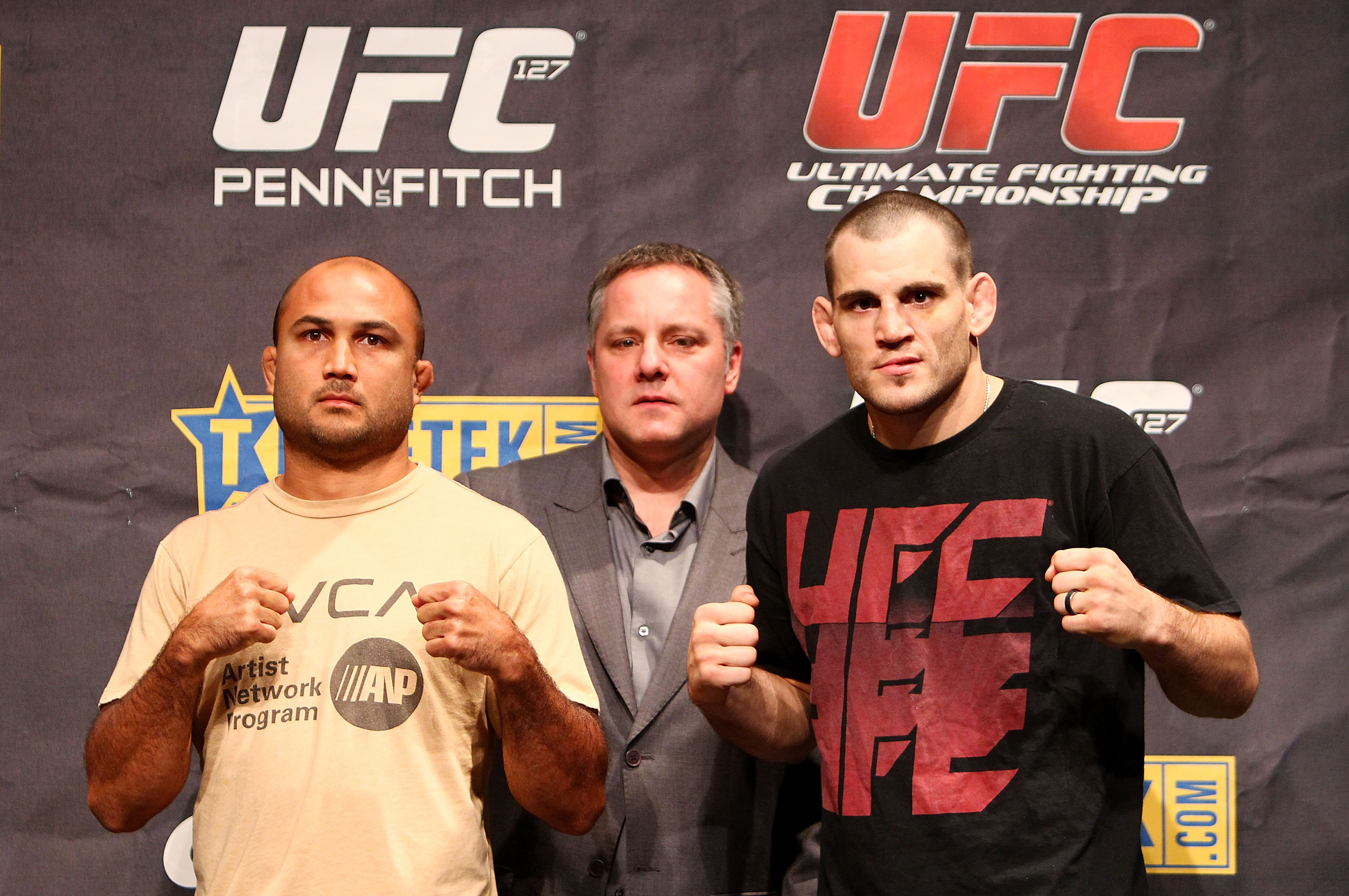 SYDNEY, AUSTRALIA - DECEMBER 14: BJ Penn, Managing Director of International Development Marshall Zelaznik and Jon Fitch pose for a photo during a UFC 127 Press Conference at Star City on December 14, 2010 in Sydney, Australia.  (Photo by Mark Nolan/Getty