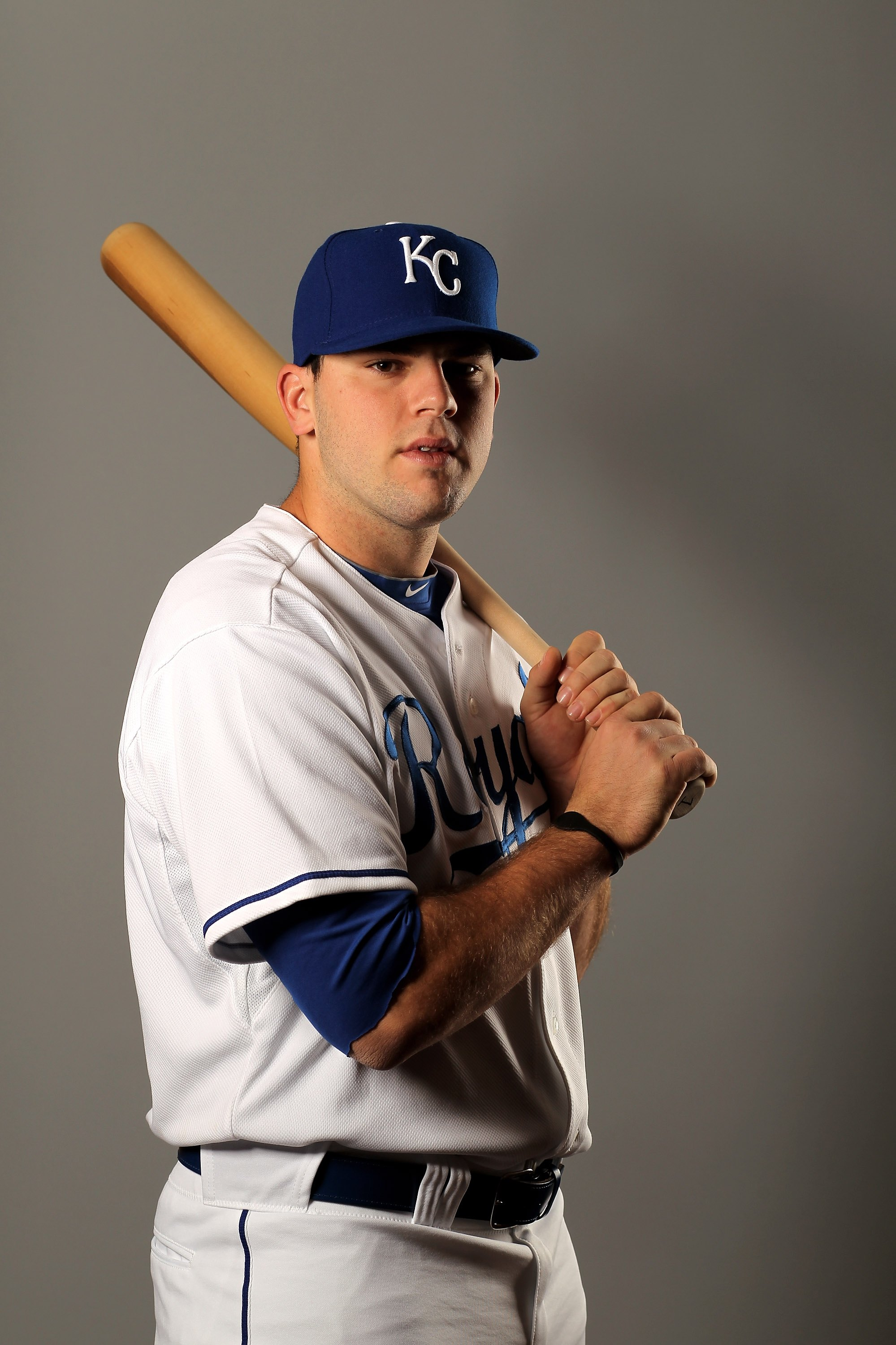 SURPRISE, AZ - FEBRUARY 26:  Mike Moustakas of the Kansas City Royals poses during photo media day at the Royals spring training complex on February 26, 2010 in Surprise, Arizona.  (Photo by Ezra Shaw/Getty Images)
