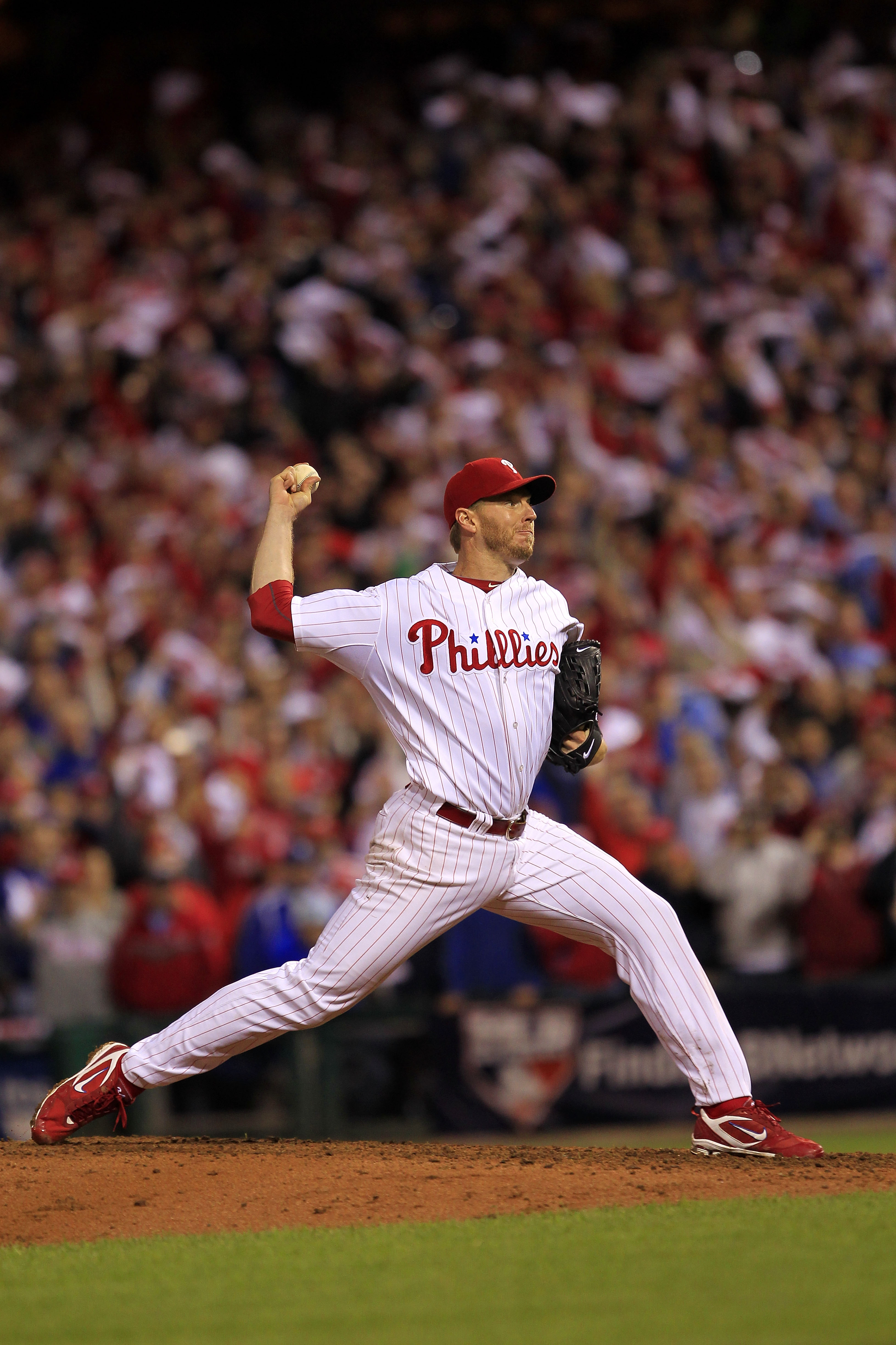 PHILADELPHIA - OCTOBER 06: Roy Halladay #34 of the Philadelphia Phillies pitches in the ninth inning during his no-hitter in Game 1 of the NLDS against the Cincinnati Reds at Citizens Bank Park on October 6, 2010 in Philadelphia, Pennsylvania.The Phillies