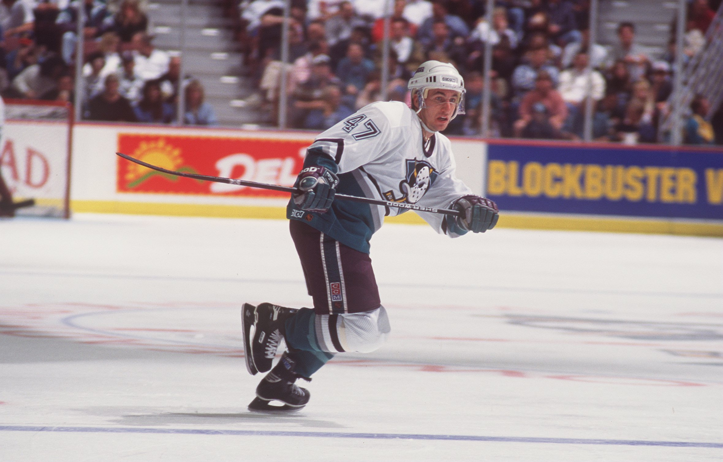 9 MAR 1995:  STEPHAN LEBEAU, CENTER FOR THE MIGHTY DUCKS OF ANAHEIM, IN ACTION DURING THEIR 4-4 TIE WITH THE DETROIT RED WINGS AT THE POND IN ANAHEIM, CALIFORNIA. Mandatory Credit: Glenn Cratty/ALLSPORT
