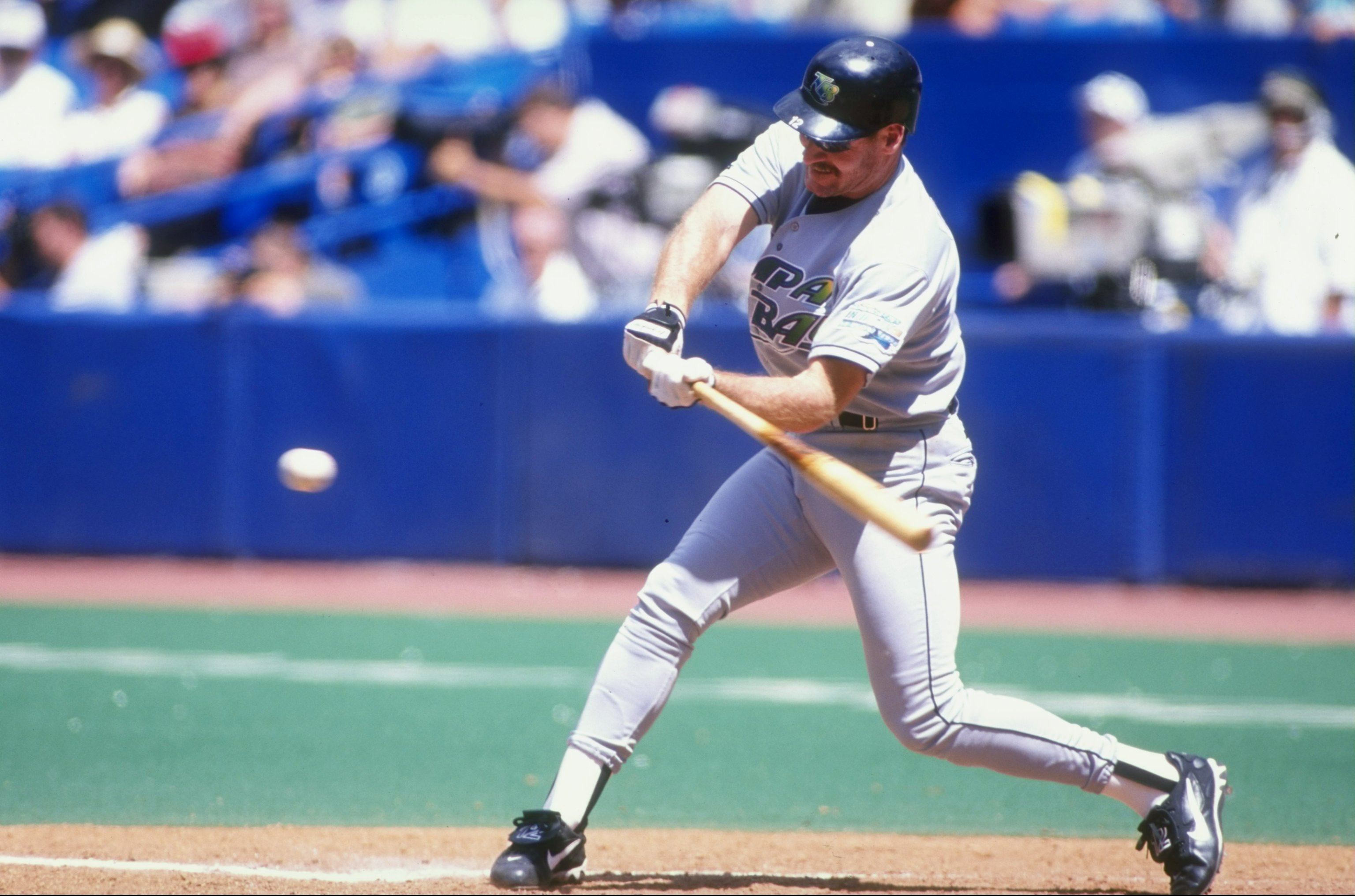 5 Jul 1998:   Wade Boggs #12 of the Tampa Bay Devil Rays swings at the ball during the game against the Toronto Blue Jays at the Sky Dome in Toronto , Canada. The Blue Jays defeated the Devil Rays 2-1. Mandatory Credit: Rick Stewart  /Allsport
