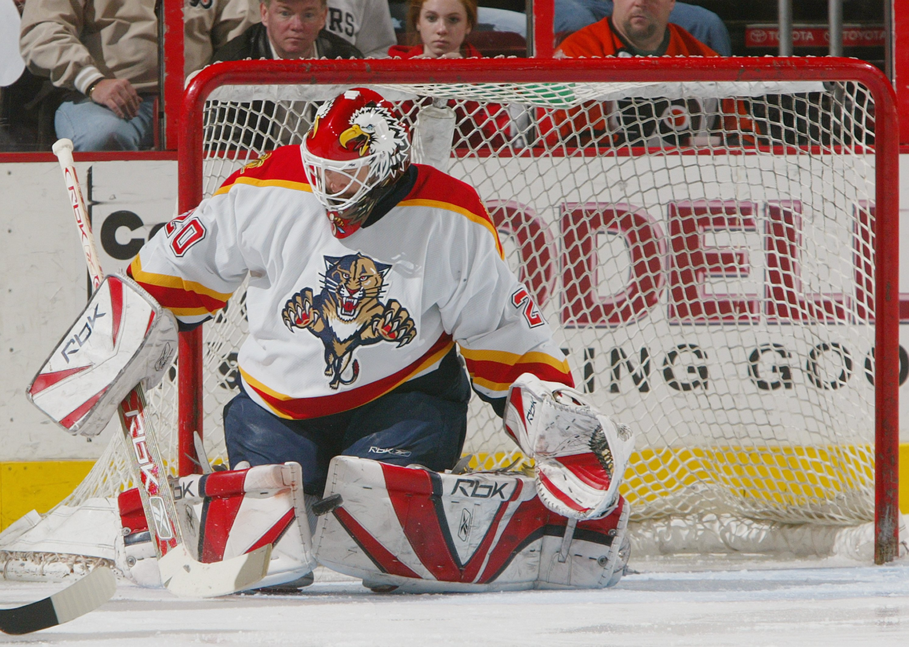 PHILADELPHIA - MARCH 20:  Goaltender Ed Belfour #20 of the Florida Panthers makes a pad save against the Philadelphia Flyers during their NHL game on March 20, 2007 at the Wachovia Center in Philadelphia, Pennsylvania.  The Panthers defeated the Flyers 4-