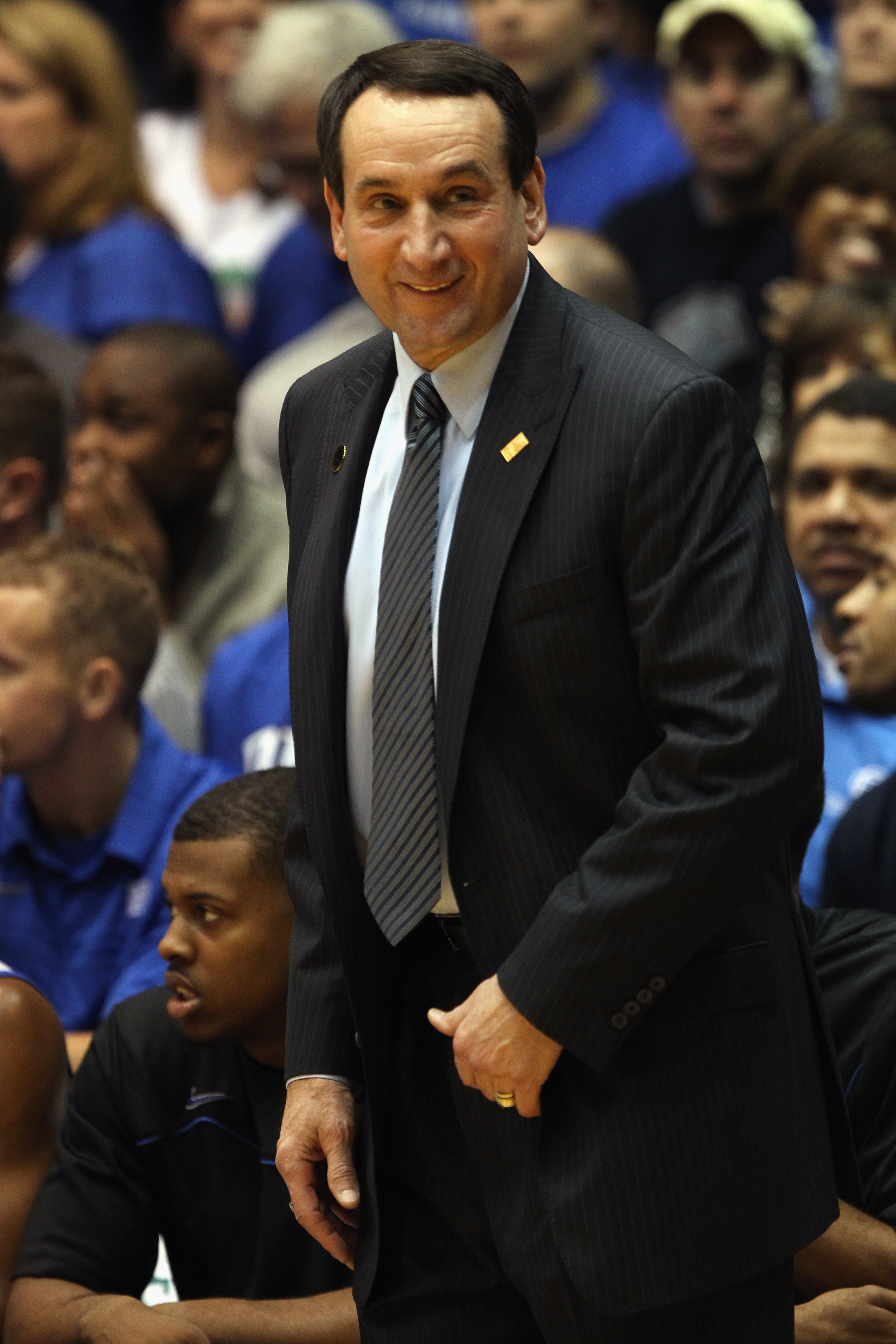 DURHAM, NC - DECEMBER 01:  Head coach Mike Krzyzewski of the Duke Blue Devils watches on against the Michigan State Spartans during their game at Cameron Indoor Stadium on December 1, 2010 in Durham, North Carolina.  (Photo by Streeter Lecka/Getty Images)