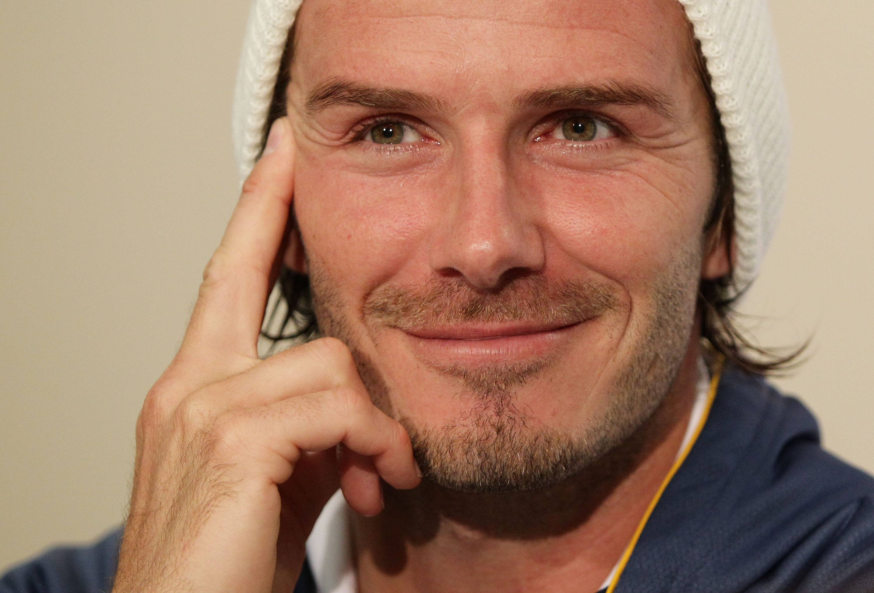 NEWCASTLE, AUSTRALIA - NOVEMBER 27:  David Beckham of the Galaxy addresses the media following the friendly match between the Newcastle Jets and the LA Galaxy at EnergyAustralia Stadium on November 27, 2010 in Newcastle, Australia.  (Photo by Brendon Thor