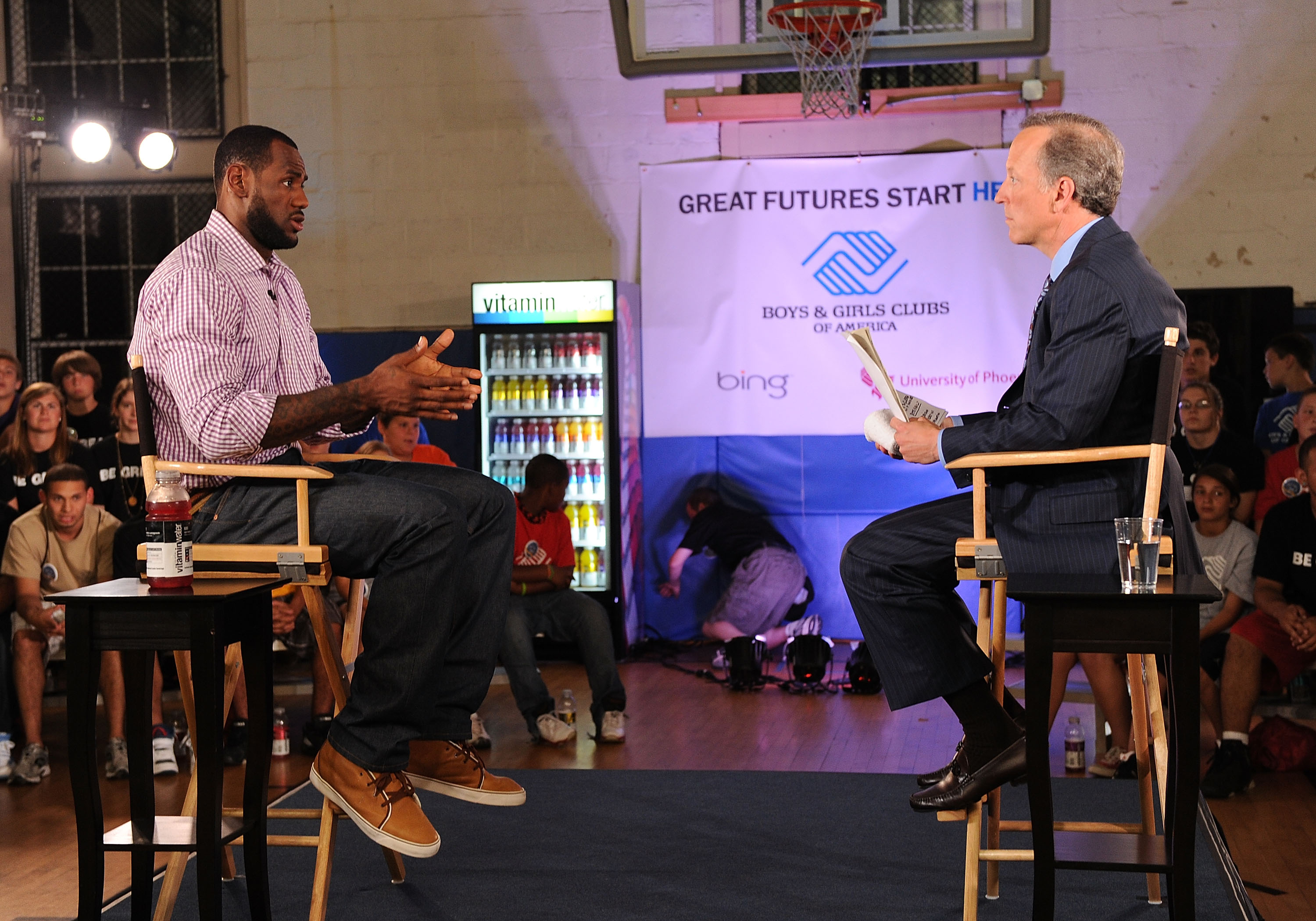 GREENWICH, CT - JULY 08:  LeBron James and ESPN's Jim Gray speak at the LeBron James announcement of his future NBA plans at the  Boys & Girls Club of America on July 8, 2010 in Greenwich, Connecticut.  (Photo by Larry Busacca/Getty Images for Estabrook G