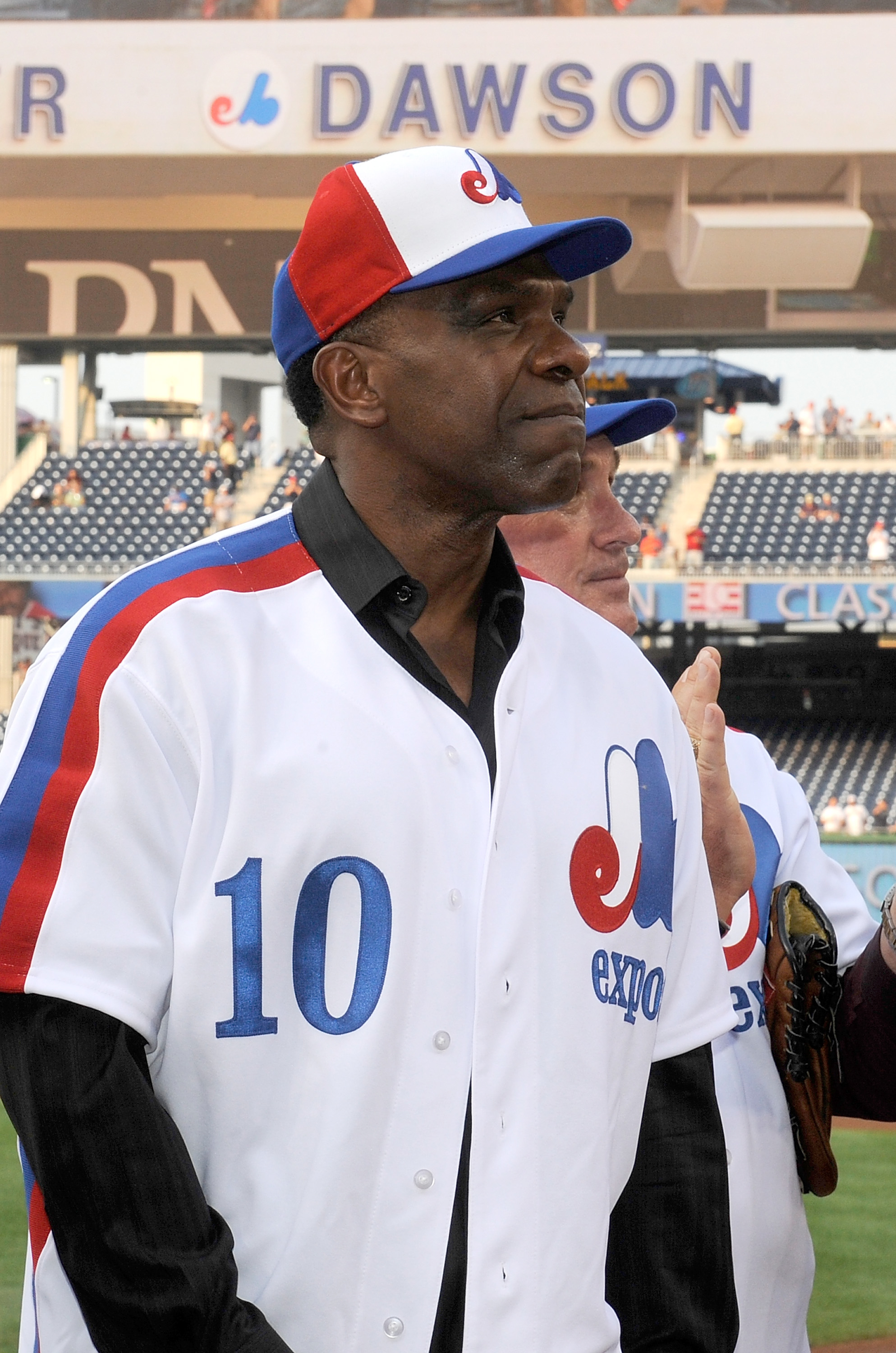 WASHINGTON - AUGUST 10:  Andre Dawson #10 watches as his name is added to the Nationals ring of fame before the game between the Washington Nationals and the Florida Marlins at Nationals Park on August 10, 2010 in Washington, DC.  (Photo by Greg Fiume/Get