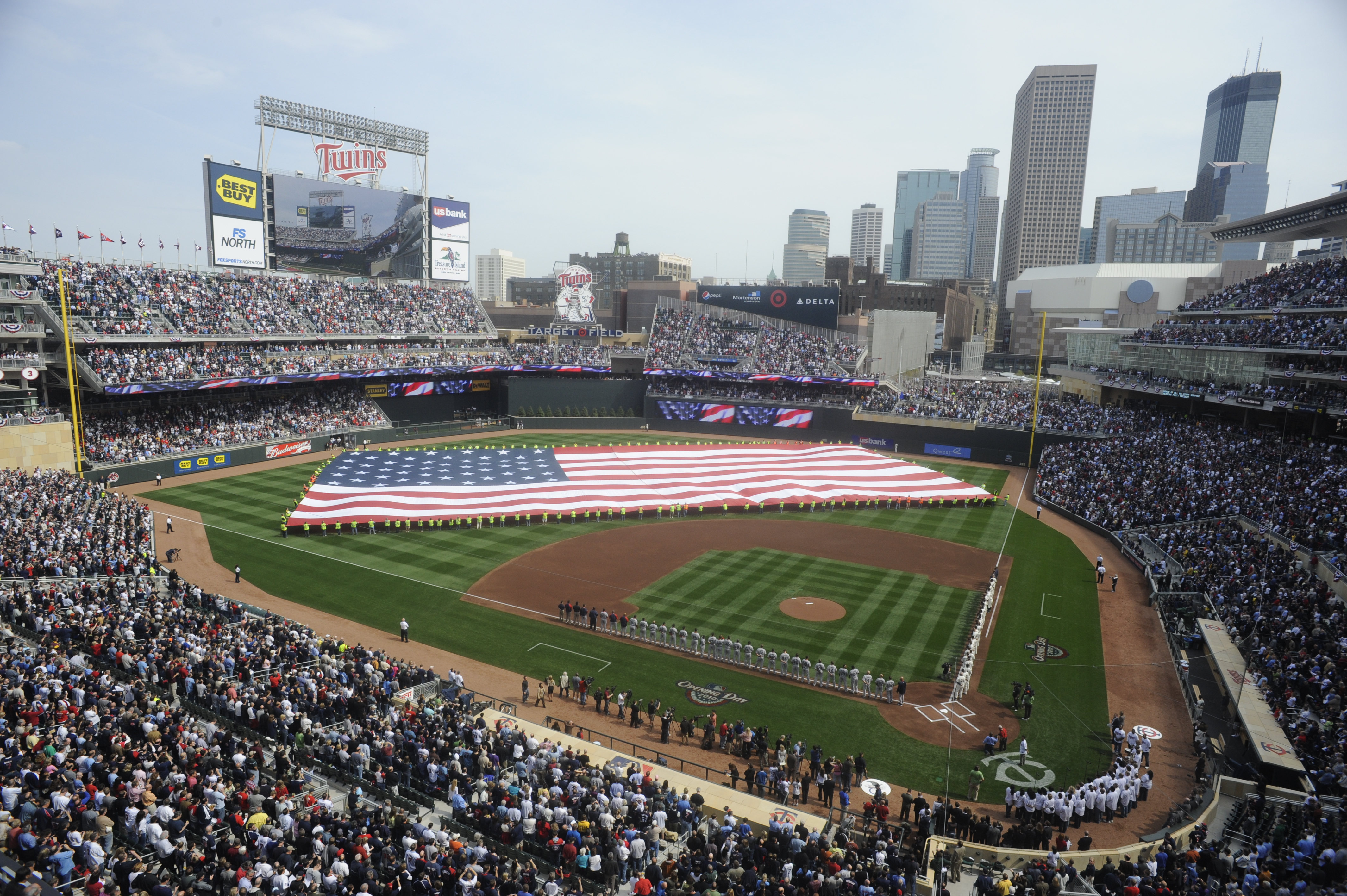 MINNESOTA, MN - APRIL 12: Target Field during the National Anthem during the Minnesota Twins home opener against the Boston Red Sox on April 12, 2010 in Minneapolis, Minnesota. (Photo by Hannah Foslien /Getty Images)