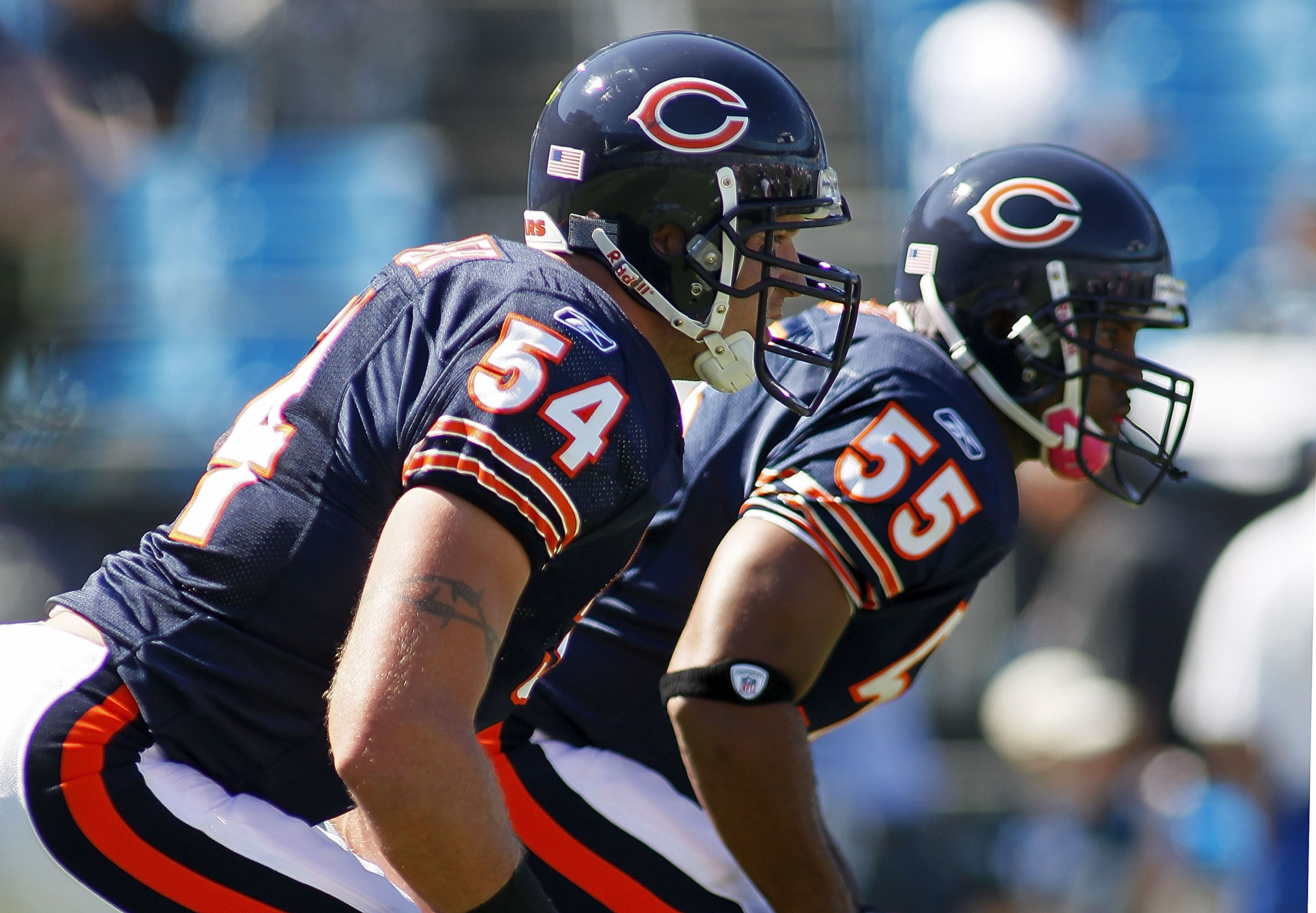 CHARLOTTE, NC - OCTOBER 10: Linebacker Brian Urlacher #54 of the Chicago Bears and linebacker Lance Briggs #55 of the Chicago Bears line up during warm ups prior to the Bears game against the Carolina Panthers at Bank of America Stadium on October 10, 201