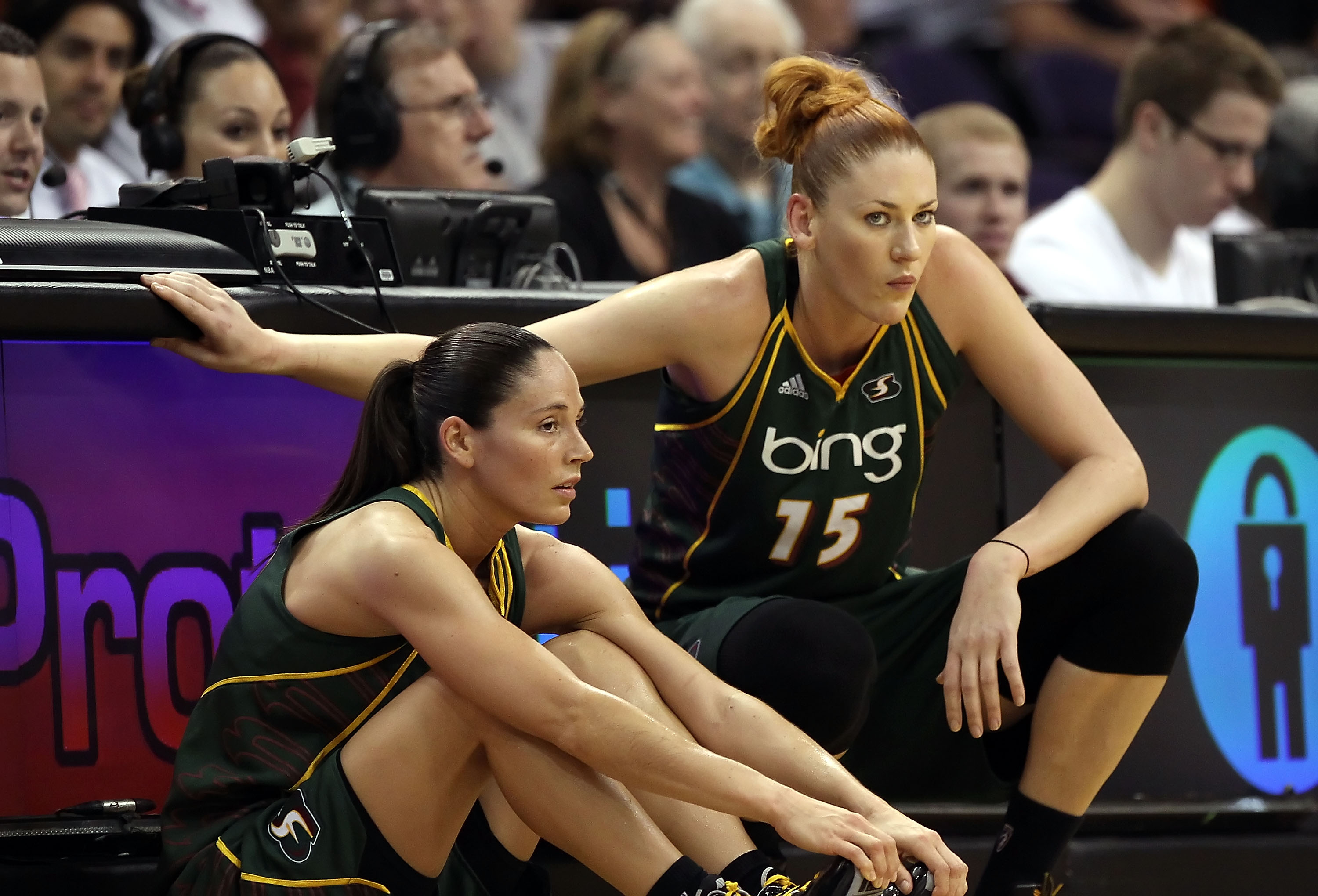 PHOENIX - JULY 14:  Sue Bird #10 and Lauren Jackson #15 of the Seattle Storm during the WNBA game against the Phoenix Mercury at US Airways Center on July 14, 2010 in Phoenix, Arizona. The Storm defeated the Mercury 111-107 in triple overtime.  NOTE TO US