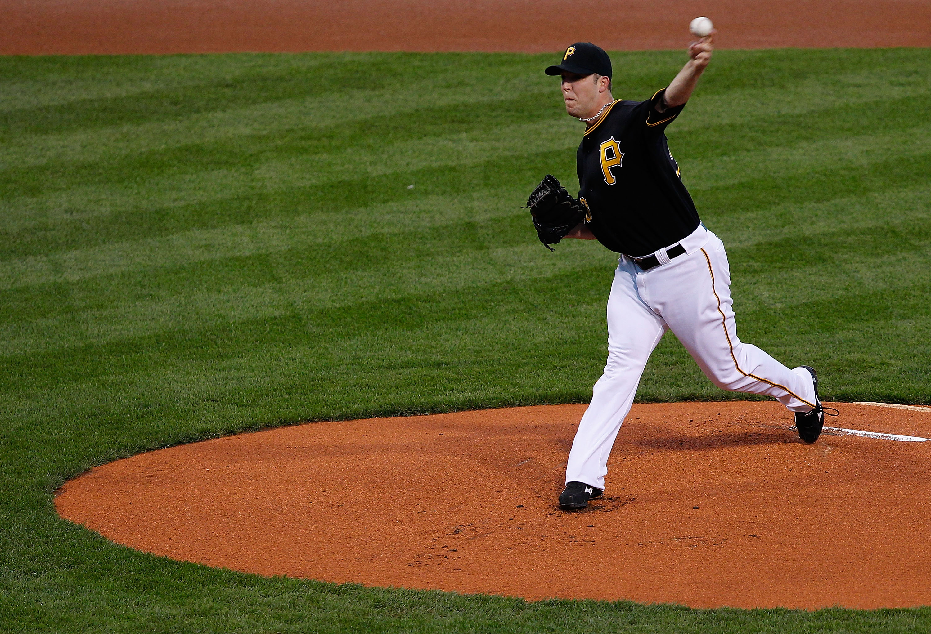 PITTSBURGH - SEPTEMBER 21:  Paul Maholm #28 of the Pittsburgh Pirates pitches against the St. Louis Cardinals during the game on September 21, 2010 at PNC Park in Pittsburgh, Pennsylvania.  (Photo by Jared Wickerham/Getty Images)
