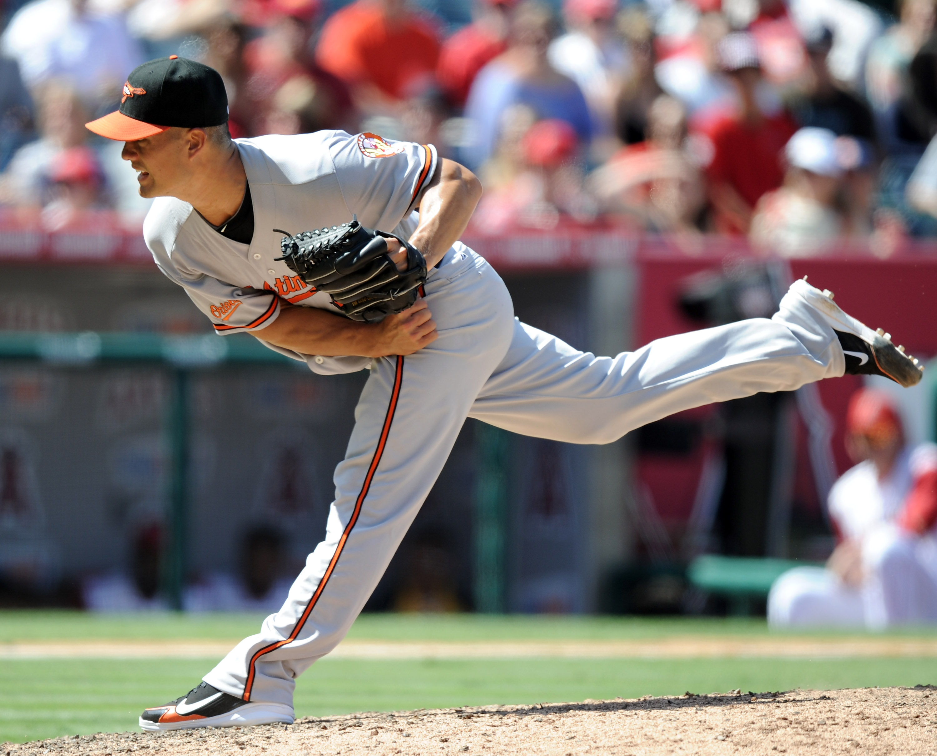 ANAHEIM, CA - AUGUST 29:  Jeremy Guthrie #46 of the Baltimore Orioles pitches against the Los Angeles Angels of Anaheim during the ninth inning at Angel Stadium on August 29, 2010 in Anaheim, California.  (Photo by Harry How/Getty Images)