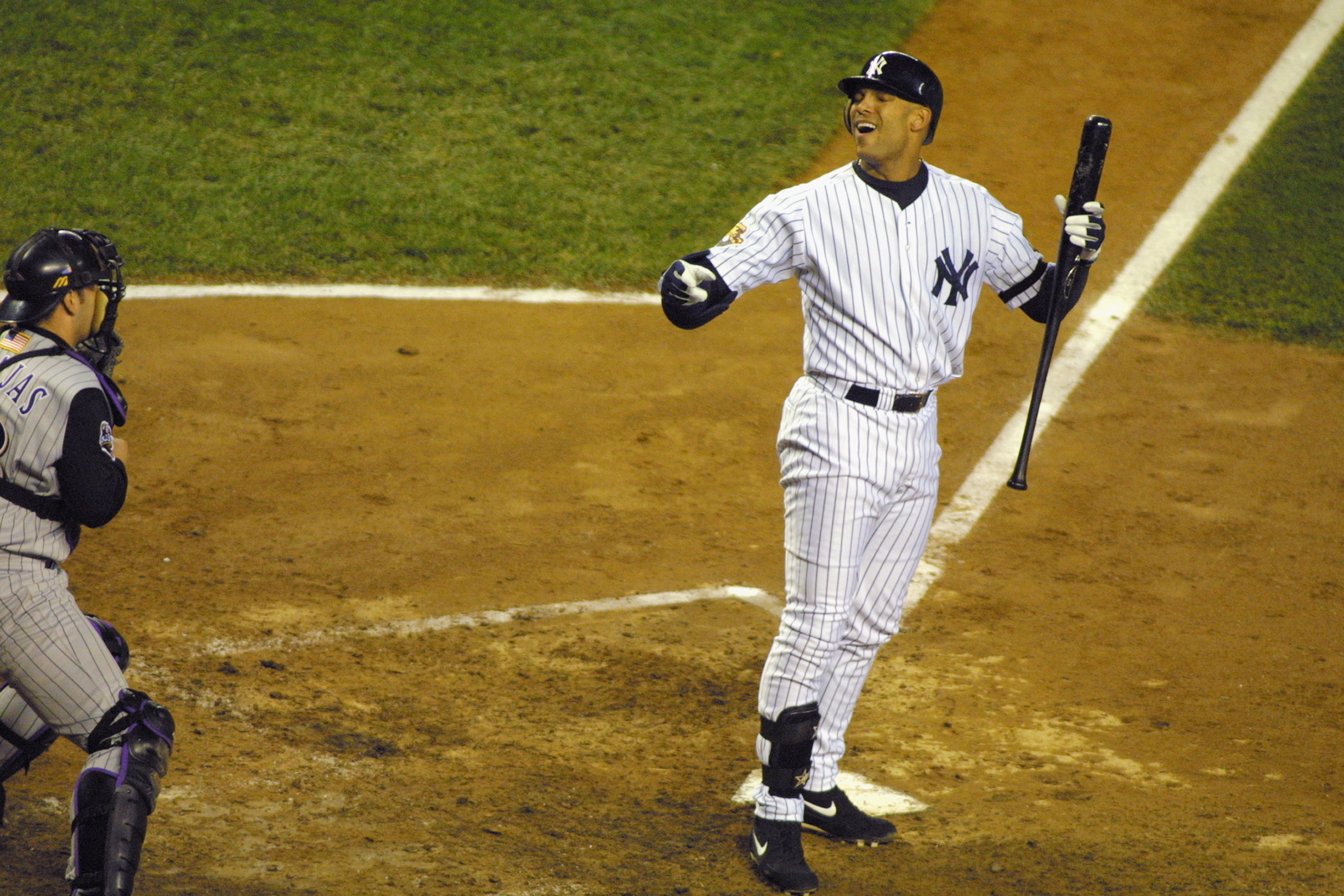 NEW YORK - NOVEMBER 01:  Outfielder David Justice of the New York Yankees reacts to the call at the plate against the Arizona Diamondbacks during game five of the 2001 World Series at Yankee Stadium in New York, New York on October 31 2001.  The Yankees d