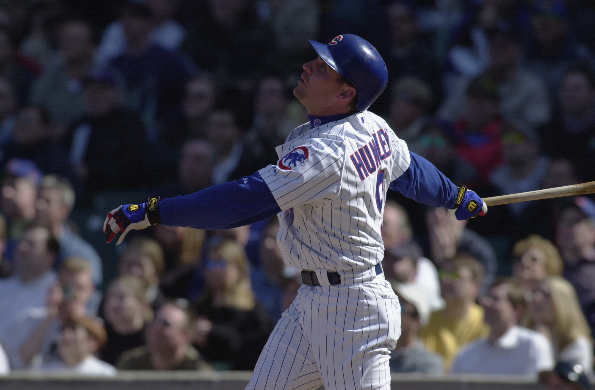 10 April 2002:  Todd Hundley #9 of the Chicago Cubs swings at a pitch during the game against the New York Mets at Wrigley Field in Chicago, Illinois. The Mets defeated the Cubs 3-2. DIGITAL IMAGE Mandatory Credit: Jonathan Daniel/Getty Images