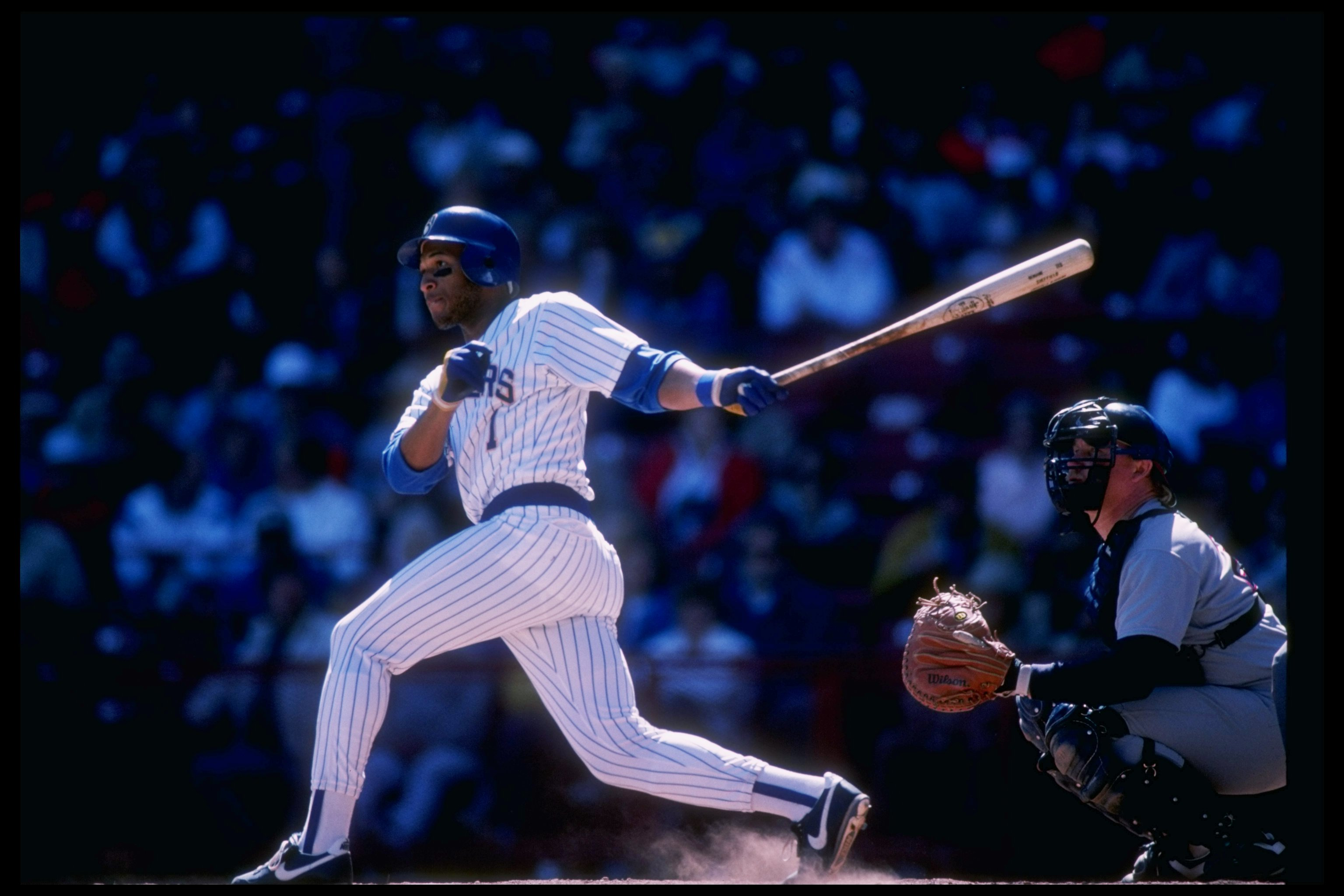 1988:  Outfielder Gary Sheffield of the Milwaukee Brewers swings the bat. Mandatory Credit: Allsport  /Allsport