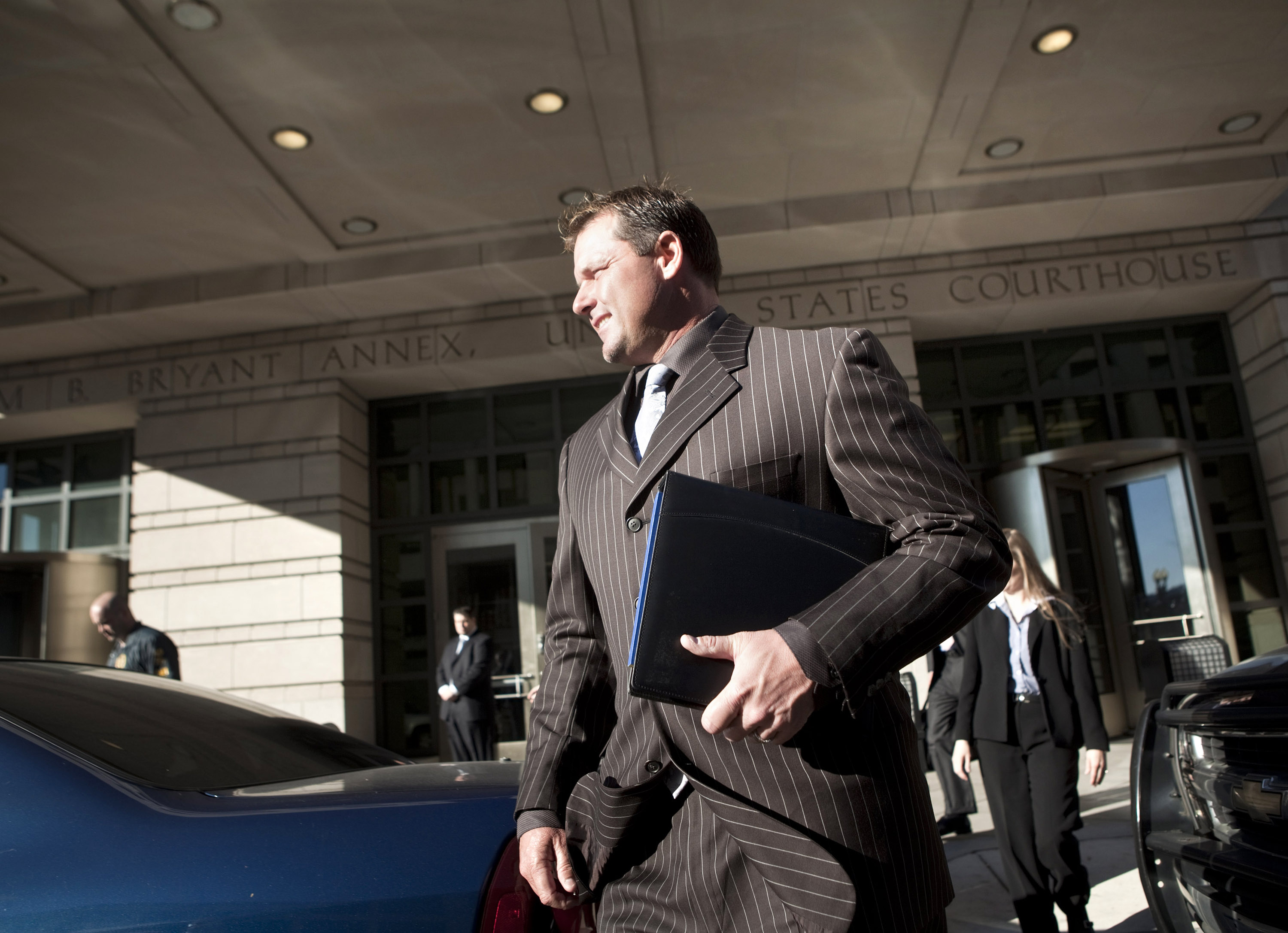 WASHINGTON - DECEMBER 8:  Roger Clemens leaves Federal Court December 8, 2010 in Washington, DC.  Clemens, a former Major League Baseball pitcher, appeared at court for an interim status conference on charges he lied to Congress during a hearing on the us