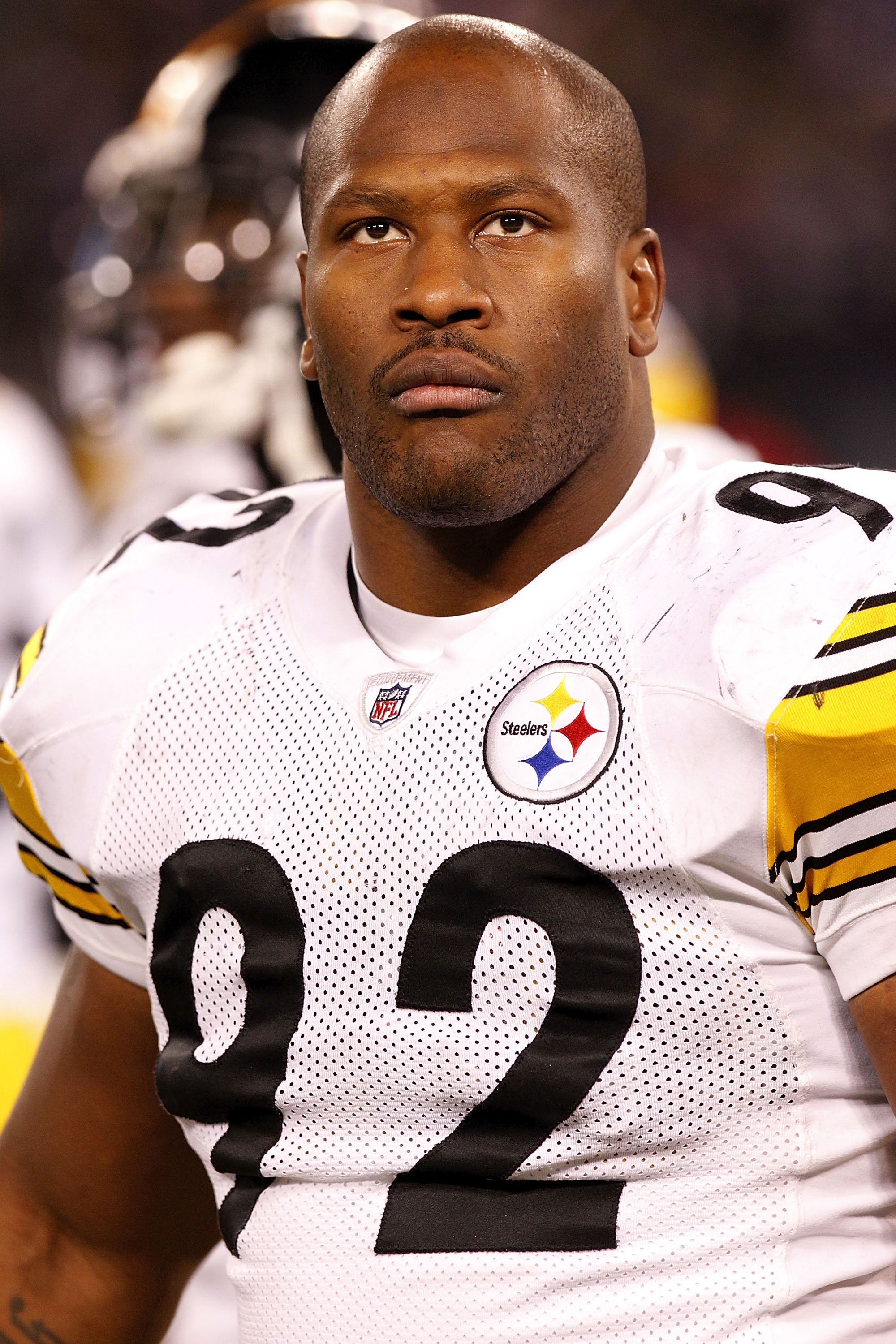 BALTIMORE, MD - DECEMBER 05:  James Harrison #92 of the Pittsburgh Steelers watches from the sidelines against the Baltimore Ravens at M&T Bank Stadium on December 5, 2010 in Baltimore, Maryland.  (Photo by Geoff Burke/Getty Images)