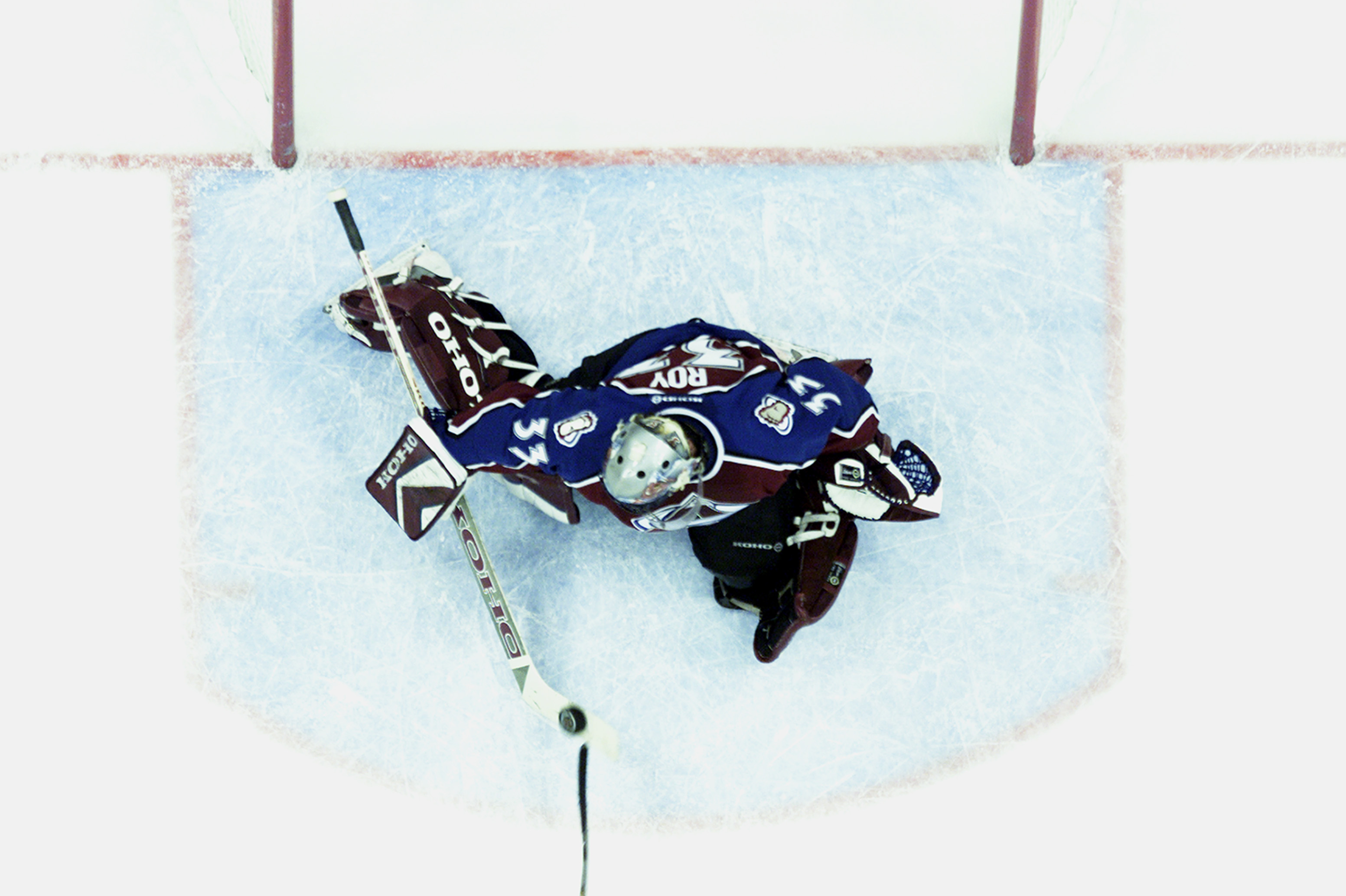 ST. PAUL, MN - APRIL 21:  Goalie Patrick Roy #33 of the Colorado Avalanche can't stop a goal by Marian Gaborik #10 of the Minnesota Wild in game six of the first round of the 2003 Western Conference Stanley Cup playoffs on April 21, 2003 at the Xcel Cente