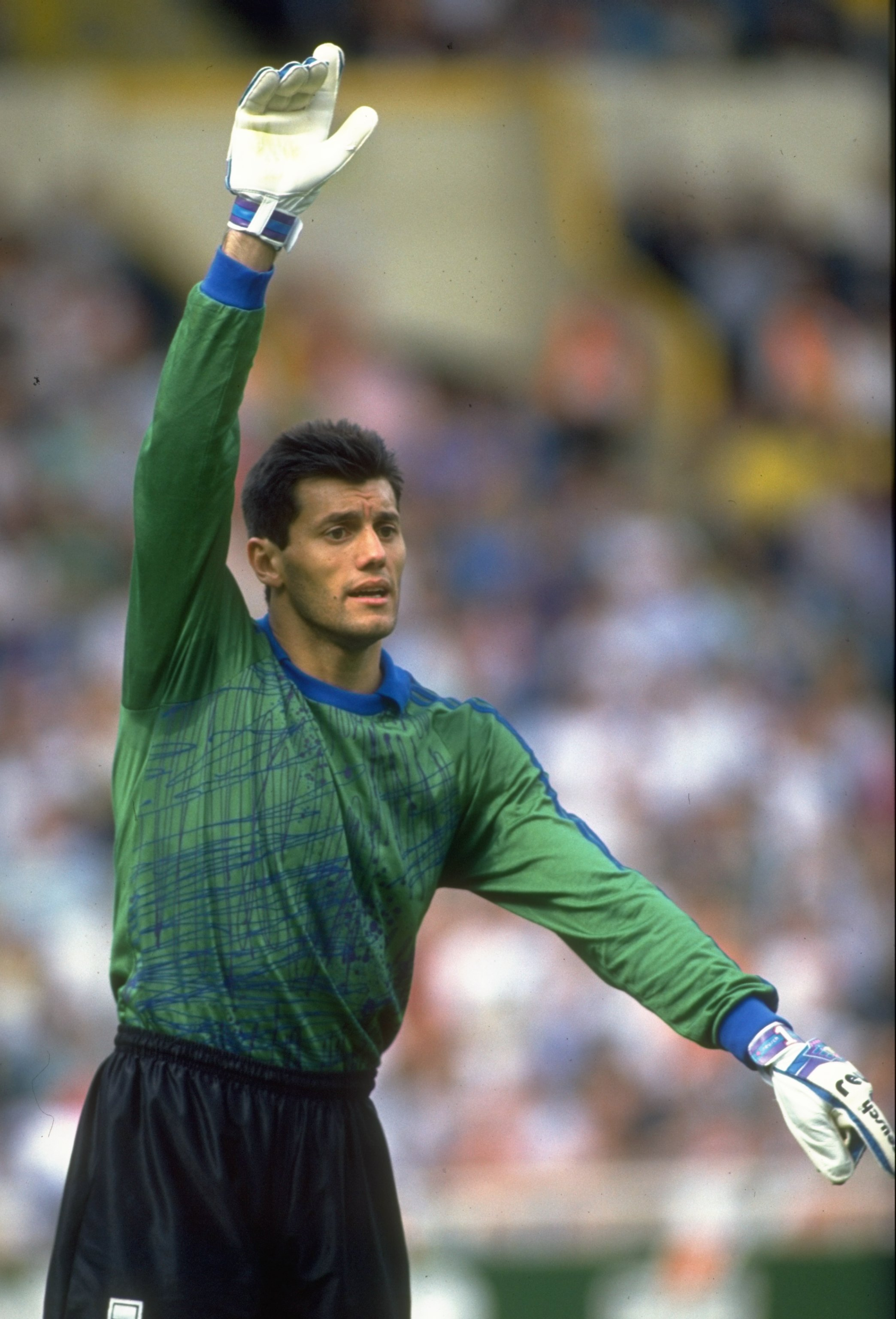 25 May 1991:  Argentinian goalkeeper Sergio Goycochea signals to his team mates during a match against England at Wembley Stadium in London. The match ended in a 2-2 draw. \ Mandatory Credit: Ben  Radford/Allsport