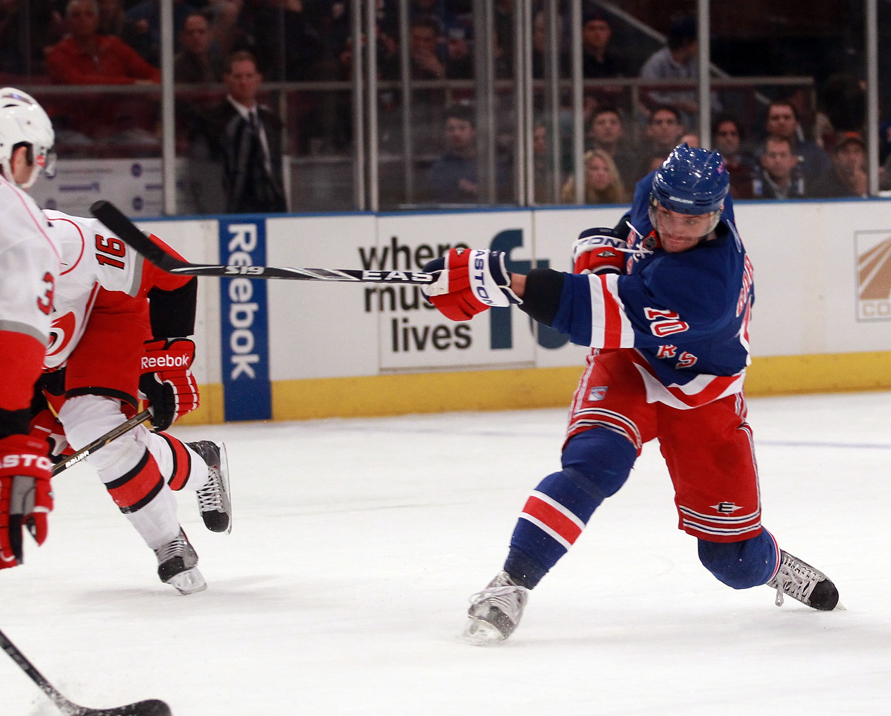 NEW YORK, NY - JANUARY 05: Marian Gaborik #10 of the New York Rangers skates against the Carolina Hurricanes at Madison Square Garden on January 5, 2011 in New York City. The Rangers defeated the Hurricanes 2-1 in overtime.  (Photo by Bruce Bennett/Getty