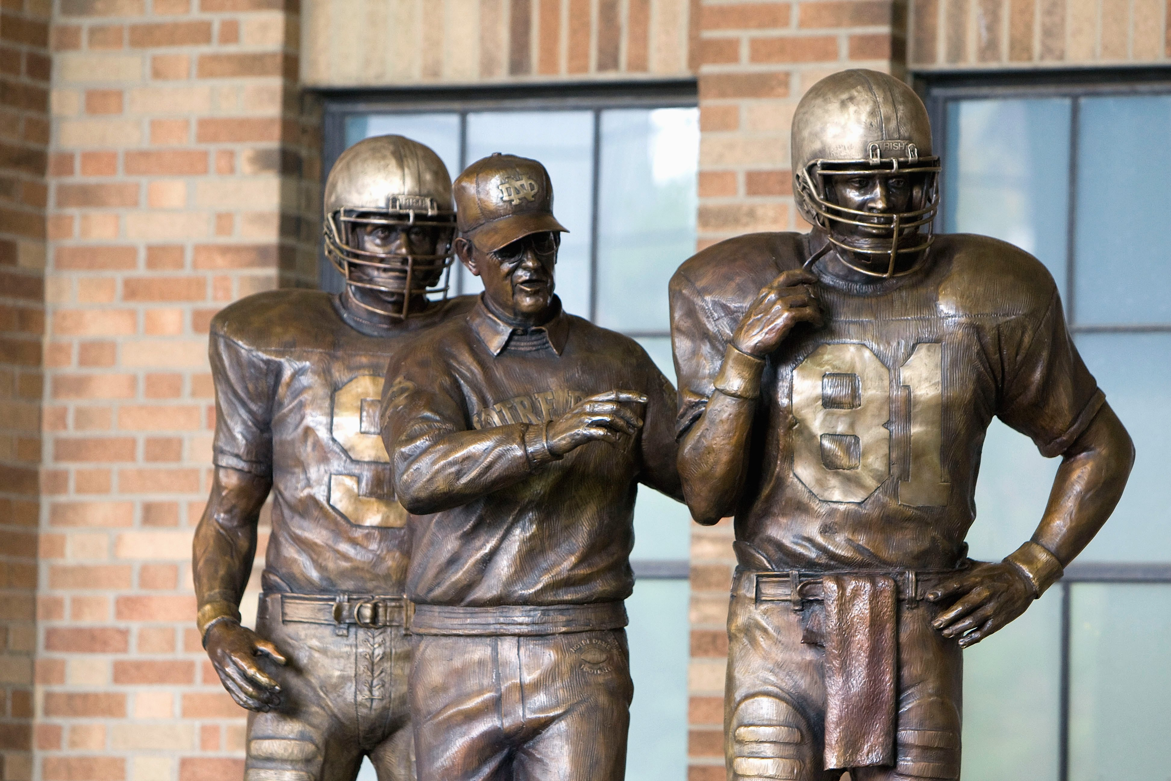 SOUTH BEND,IN - SEPTEMBER 13:  Former head coach Lou Holtz of the Notre Dame Fighting Irish has a statue unveiled before the game against the Michigan Wolverines on September 13, 2008 at Notre Dame Stadium in South Bend, Indiana. (Photo by: Gregory Shamus