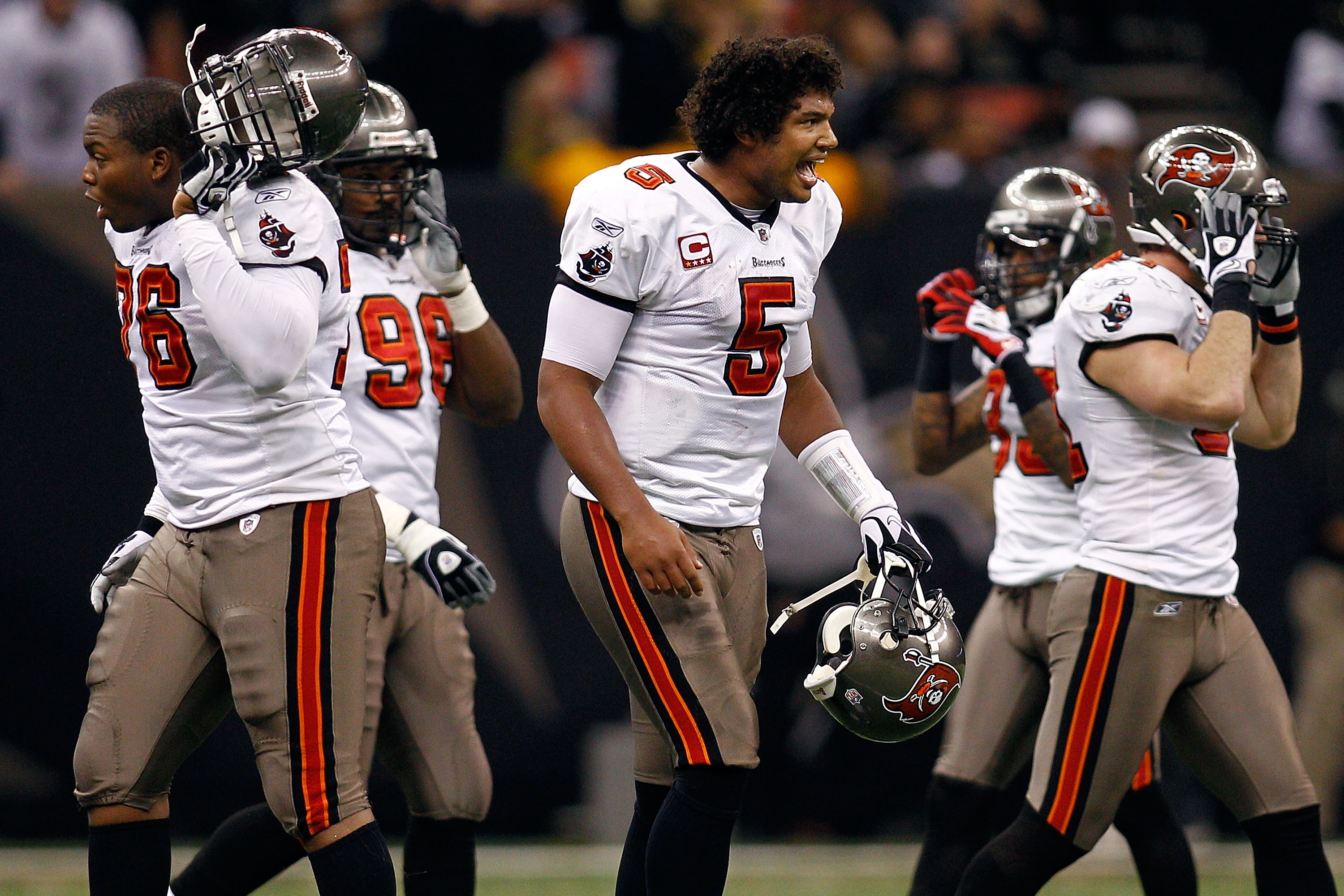 NEW ORLEANS, LA - JANUARY 02:  Josh Freeman #5 of the Tampa Bay Buccaneers reacts to being sacked during the game against the New Orleans Saints at the Louisiana Superdome on January 2, 2011 in New Orleans, Louisiana.  (Photo by Chris Graythen/Getty Image