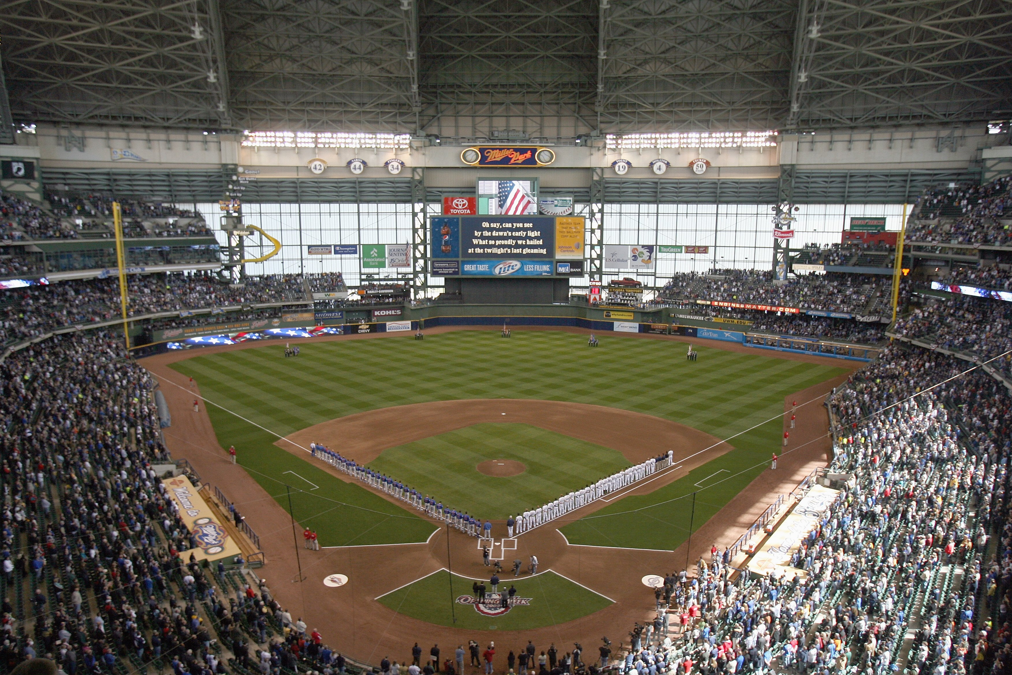 MILWAUKEE - APRIL 10: A general view of Miller Park taken during Opening Day ceremonies before a game between the Milwaukee Brewers and the Chicago Cubs on April 10, 2009 in Milwaukee, Wisconsin. (Photo by Jonathan Daniel/Getty Images)