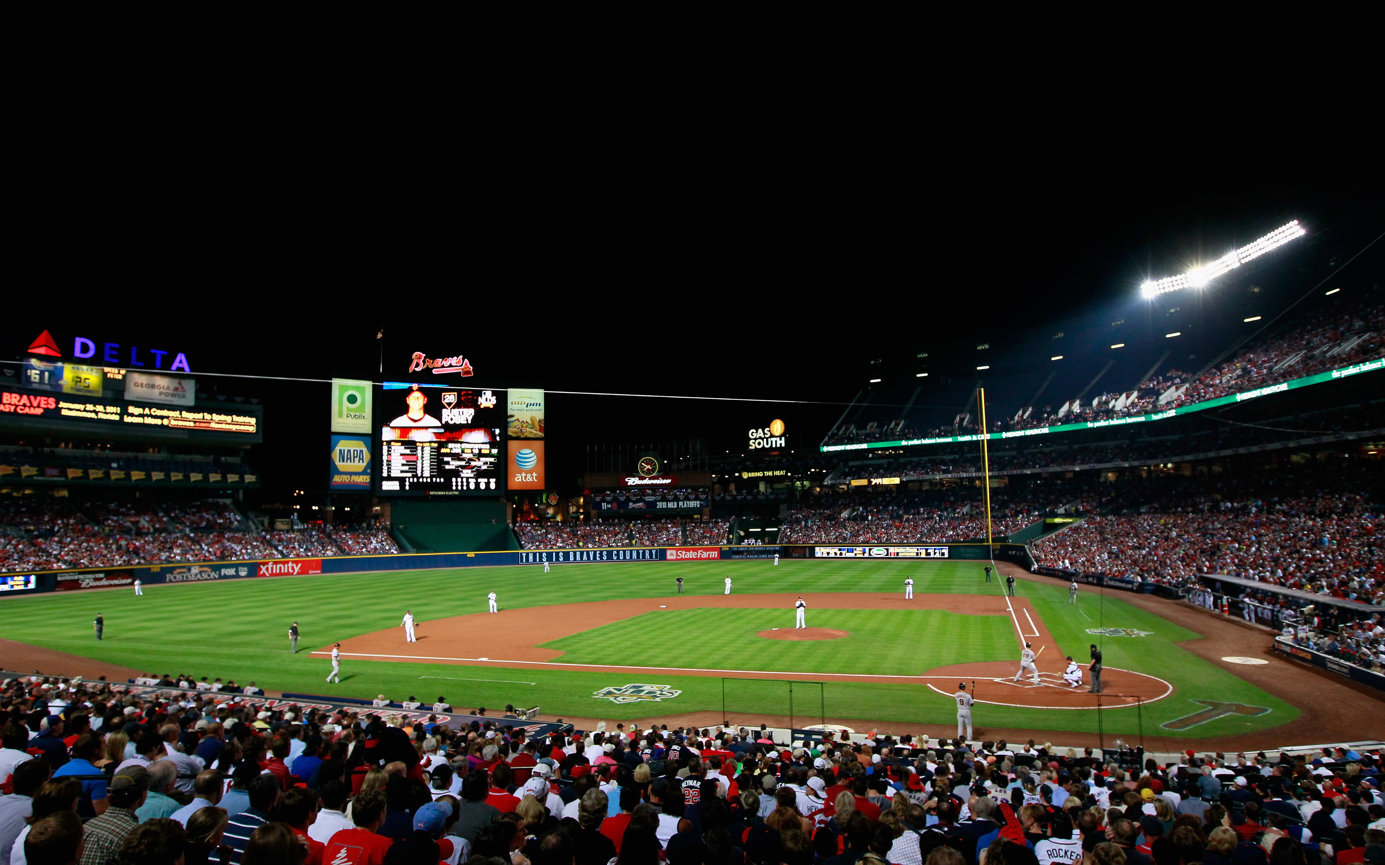 ATLANTA - OCTOBER 11:  A general view of Turner Field during the game between the Atlanta Braves cheer and the San Francisco Giants during Game Four of the NLDS of the 2010 MLB Playoffs at Turner Field on October 11, 2010 in Atlanta, Georgia.  (Photo by K