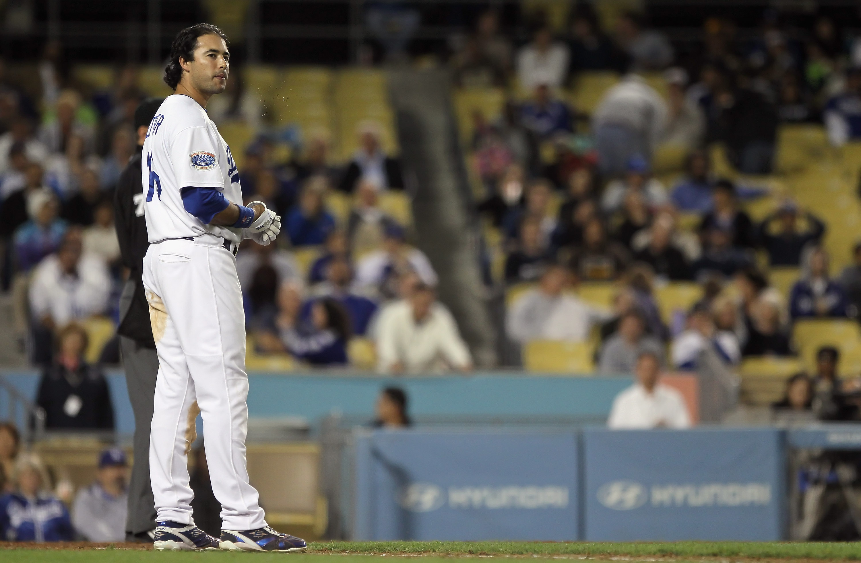 LOS ANGELES, CA - SEPTEMBER 22:  Andre Ethier #16 of the Los Angeles Dodgers looks on after grounding out to first against the San Diego Padres in the eighth inning at Dodger Stadium on September 22, 2010 in Los Angeles, California. The Padres defeated th