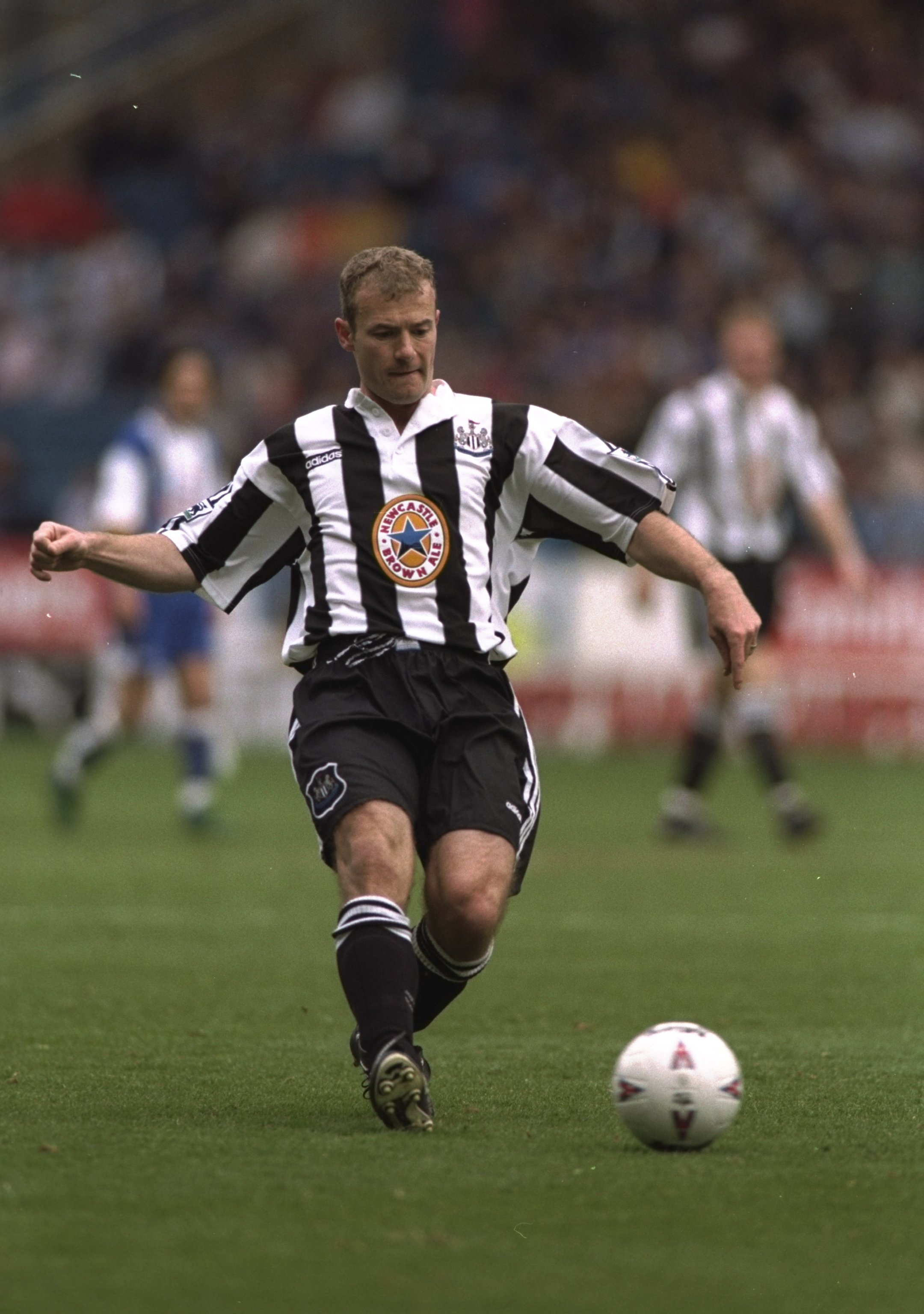 13 Apr 1997:  Alan Shearer of Newcastle United in action during the Premier League match against Sheffield Wednesday at Hillsborough in Sheffield, England. The game was drawn 1-1. \ Mandatory Credit: Stu Forster /Allsport