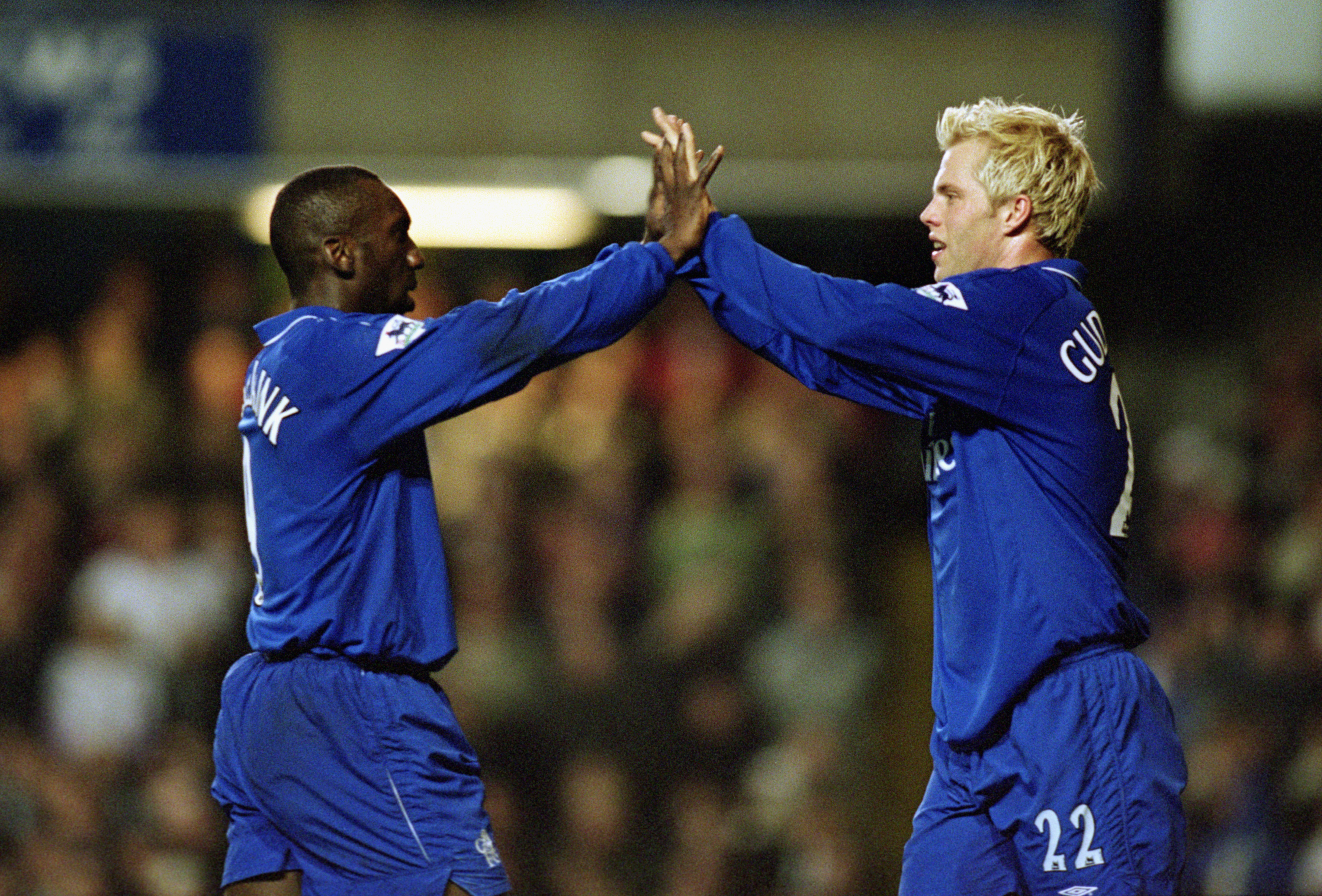 LONDON - MARCH 6:  Eidur Gudjohnsen of Chelsea celebrates his goal with team-mate Jimmy Floyd Hasselbaink during the FA Barclaycard Premiership match between Chelsea and Fulham held on March 6, 2002 at Stamford Bridge, in London. Chelsea won the match 3-2